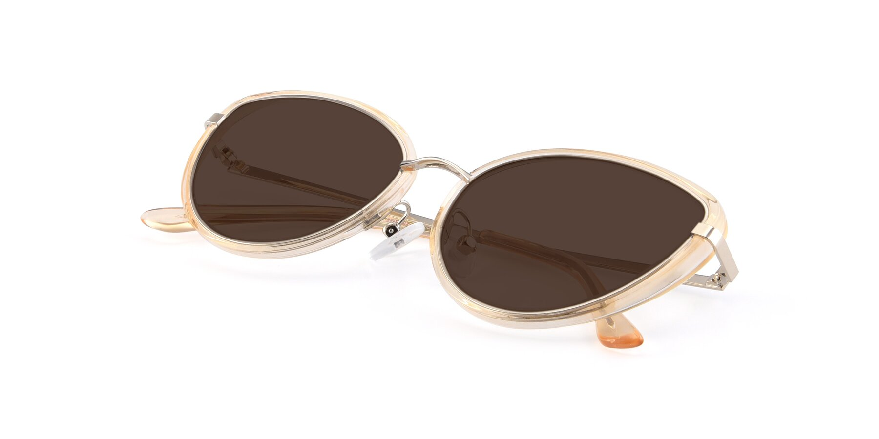 View of 17706 in Transparent Caramel-Silver with Brown Tinted Lenses