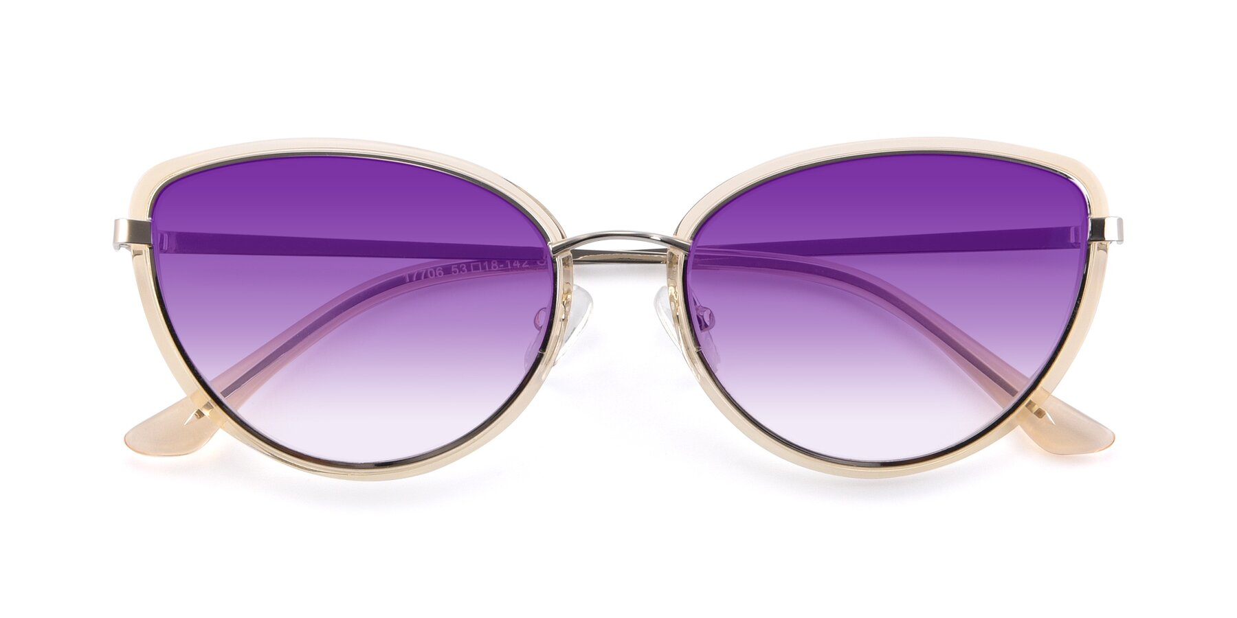 Folded Front of 17706 in Transparent Caramel-Silver with Purple Gradient Lenses