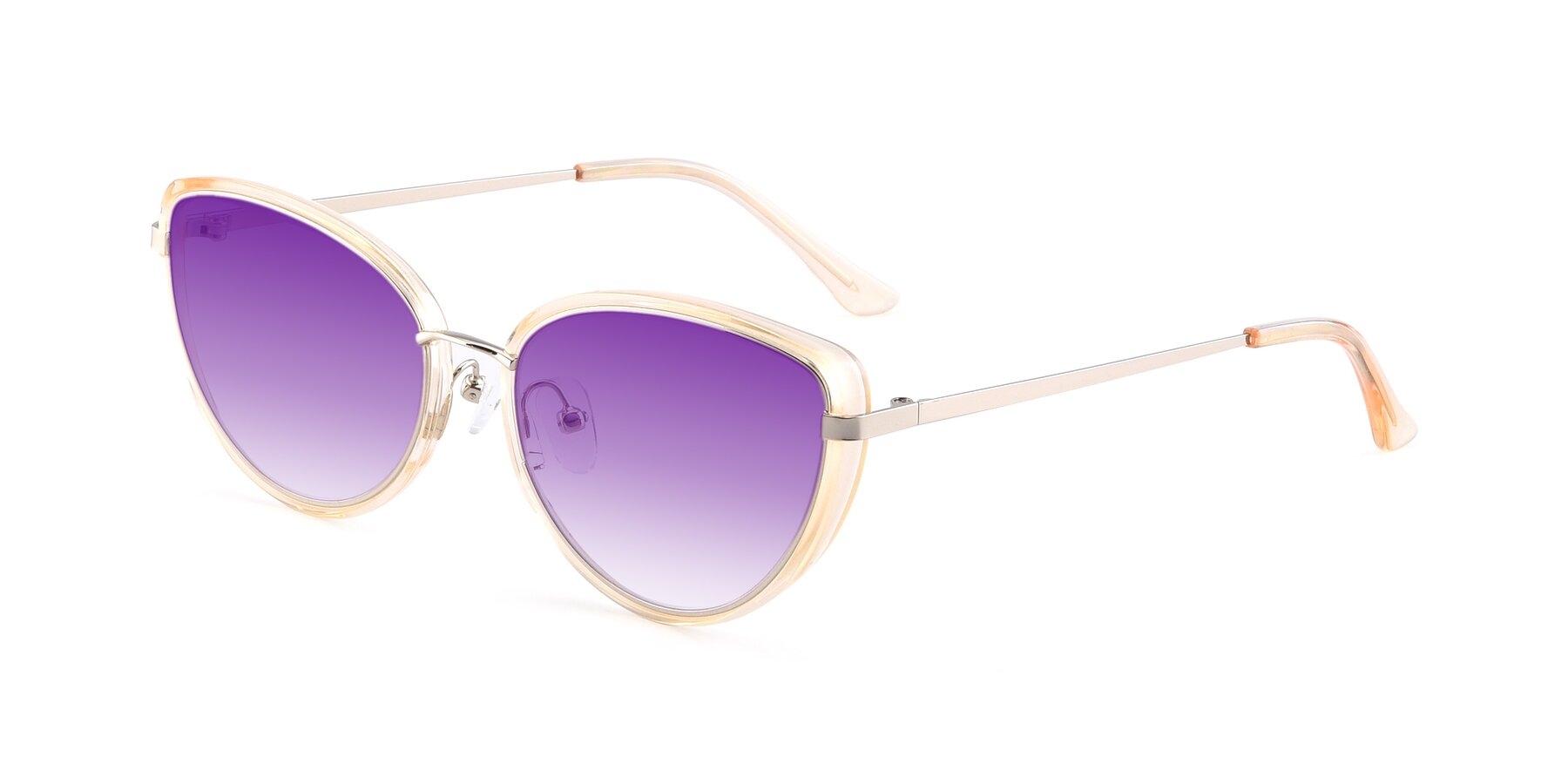 Angle of 17706 in Transparent Caramel-Silver with Purple Gradient Lenses