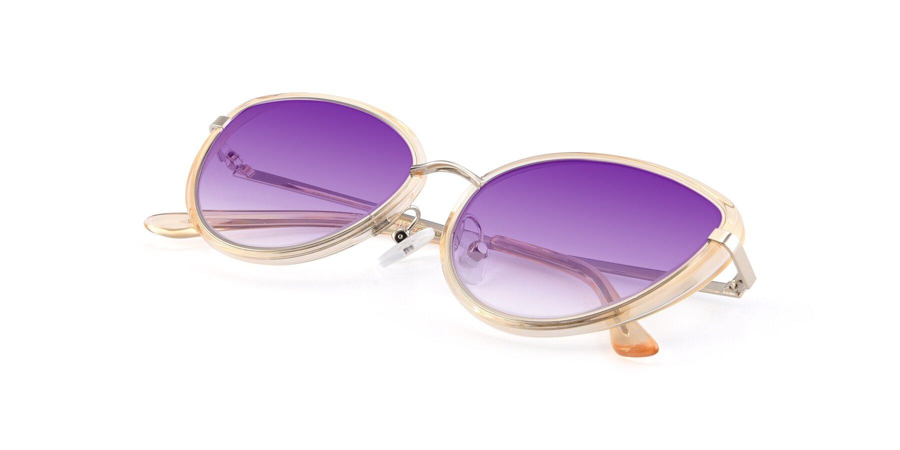 View of 17706 in Transparent Caramel-Silver with Purple Gradient Lenses
