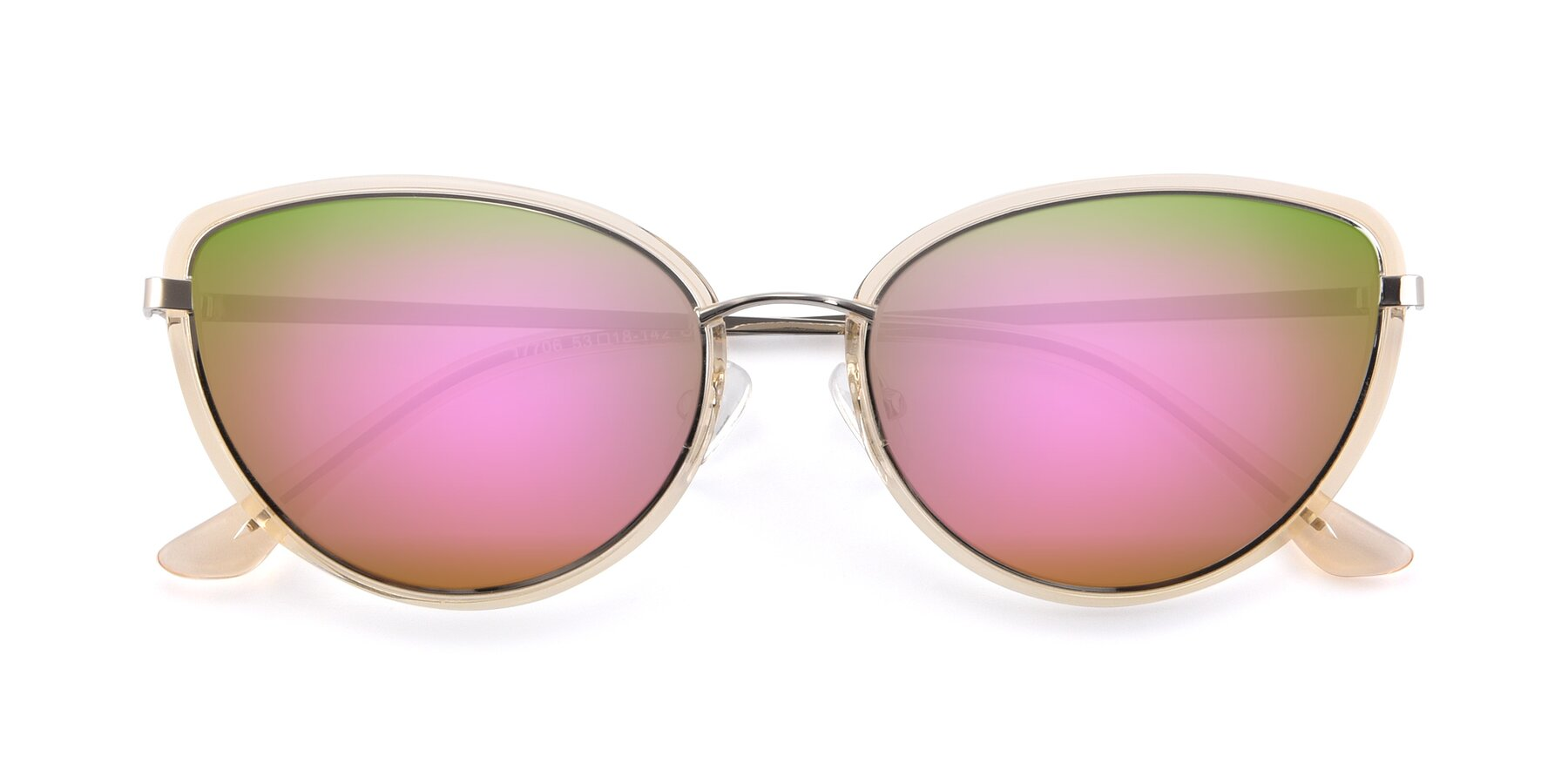 Folded Front of 17706 in Transparent Caramel-Silver with Pink Mirrored Lenses
