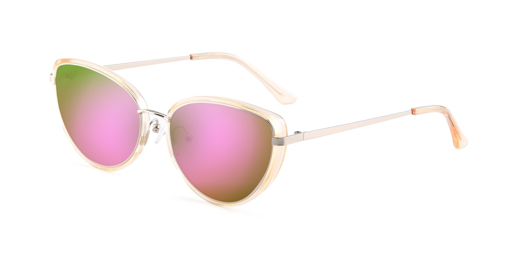 Angle of 17706 in Transparent Caramel-Silver with Pink Mirrored Lenses