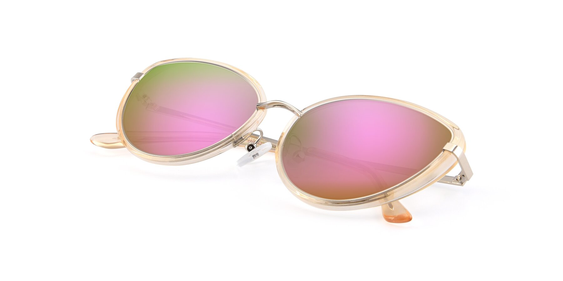 View of 17706 in Transparent Caramel-Silver with Pink Mirrored Lenses