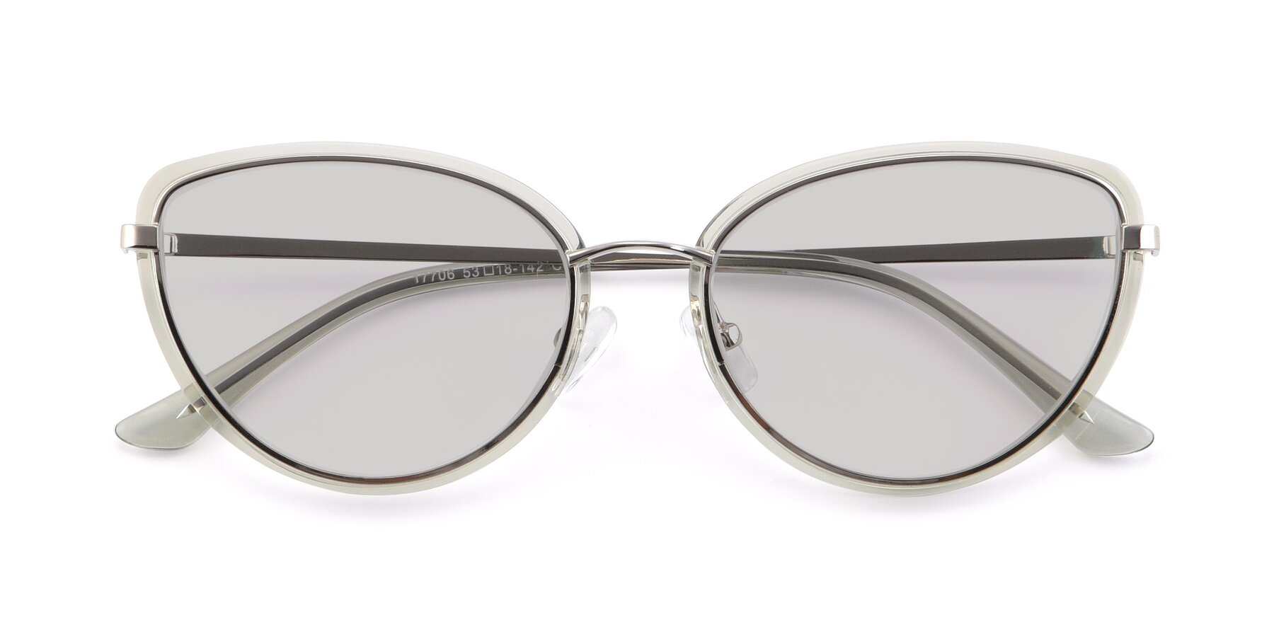 Folded Front of 17706 in Transparent Green-Silver with Light Gray Tinted Lenses