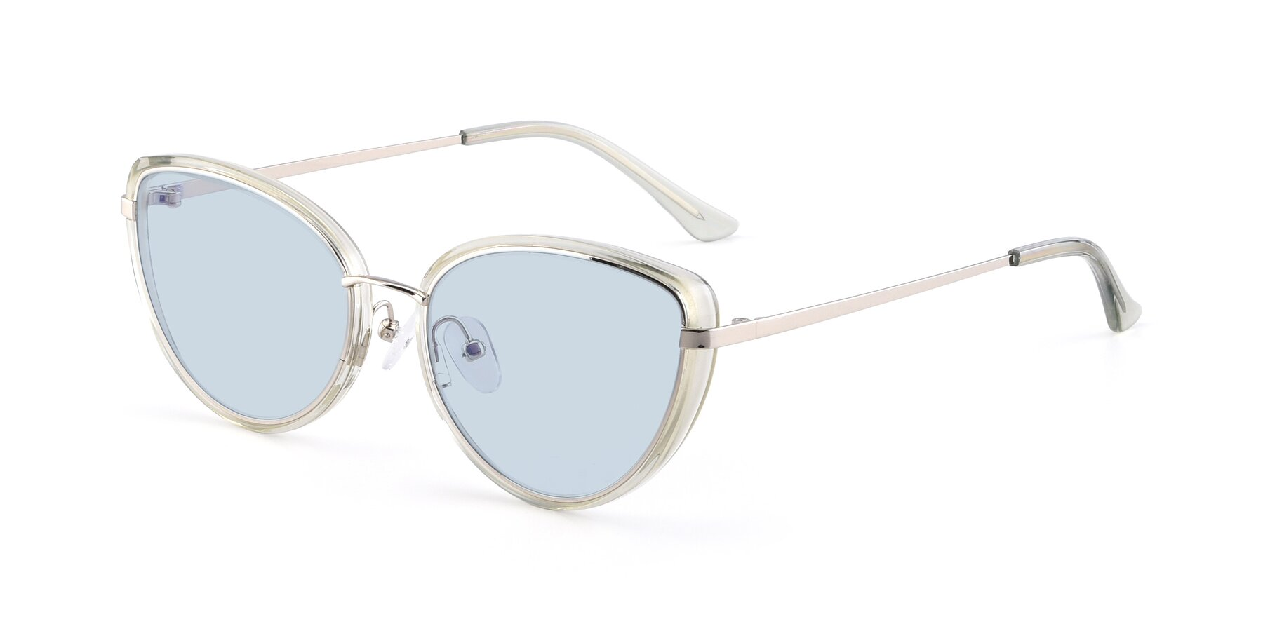 Angle of 17706 in Transparent Green-Silver with Light Blue Tinted Lenses