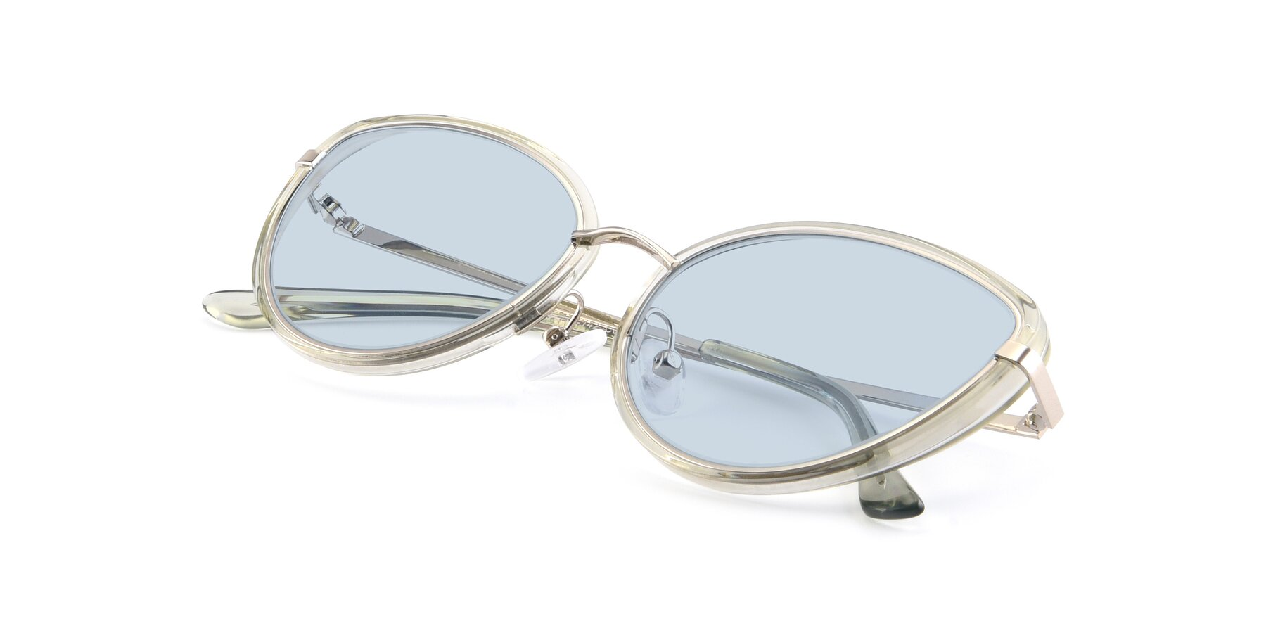 View of 17706 in Transparent Green-Silver with Light Blue Tinted Lenses