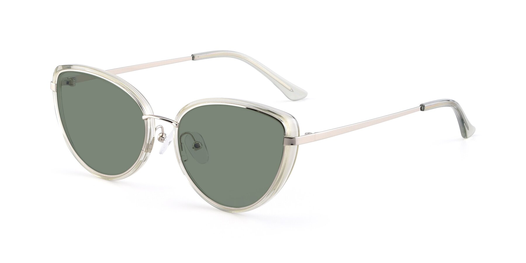 Angle of 17706 in Transparent Green-Silver with Medium Green Tinted Lenses