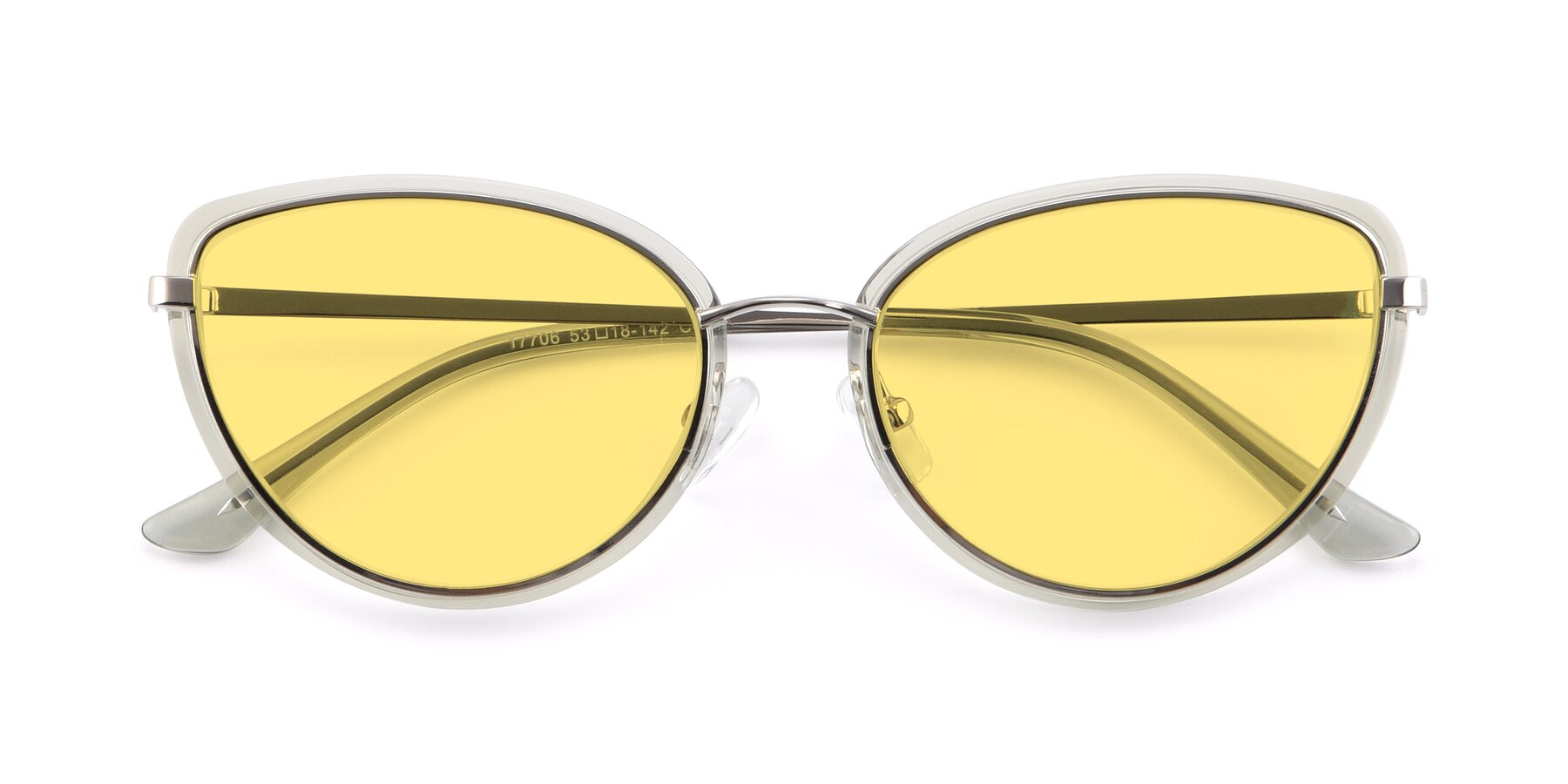 Folded Front of 17706 in Transparent Green-Silver with Medium Yellow Tinted Lenses