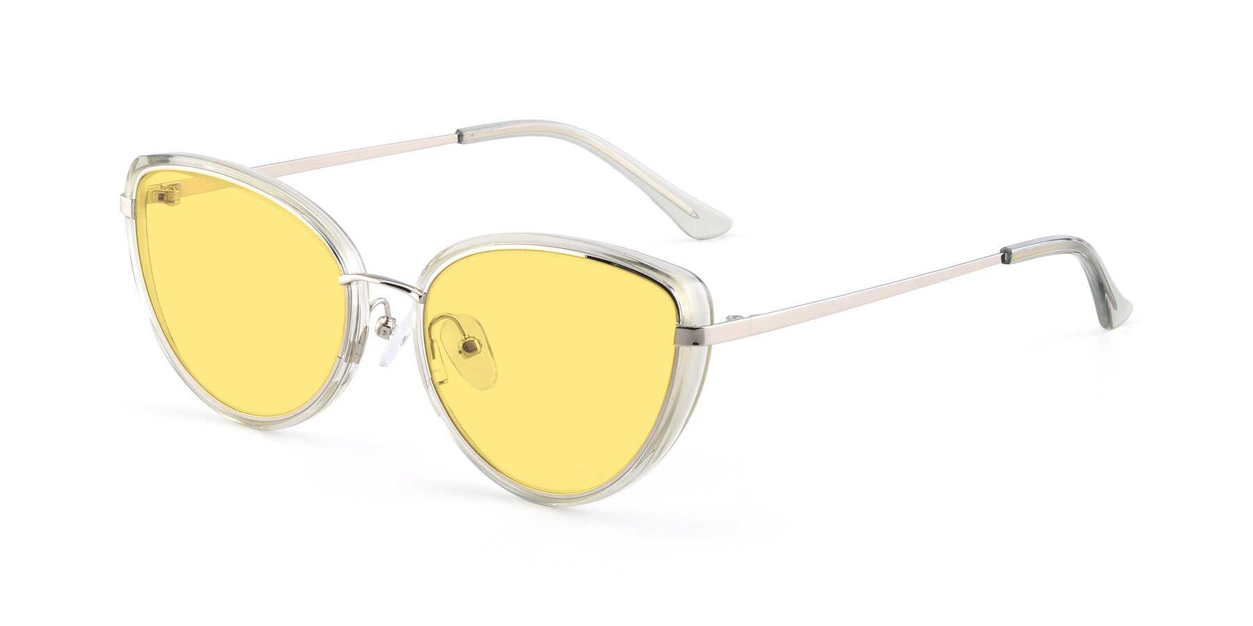 Angle of 17706 in Transparent Green-Silver with Medium Yellow Tinted Lenses