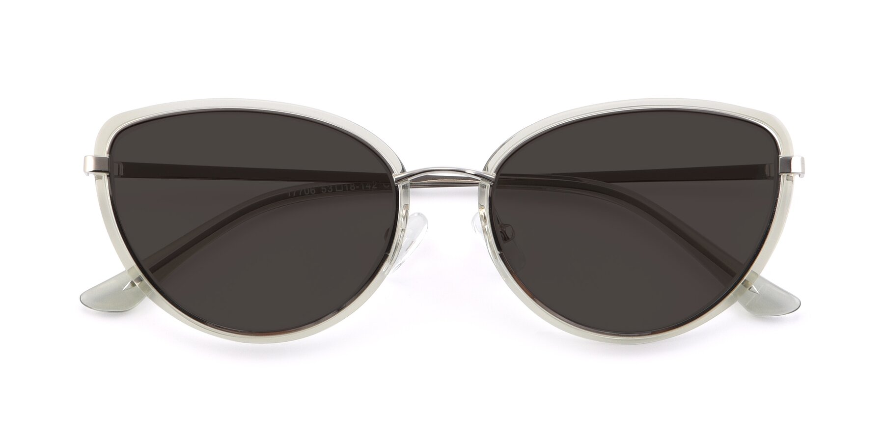 Folded Front of 17706 in Transparent Green-Silver with Gray Tinted Lenses