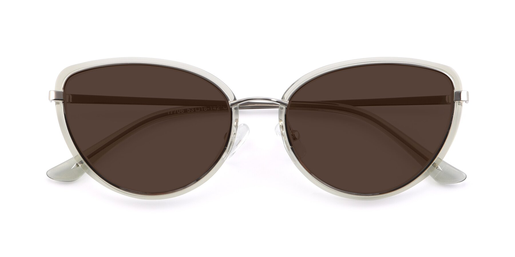 Folded Front of 17706 in Transparent Green-Silver with Brown Tinted Lenses