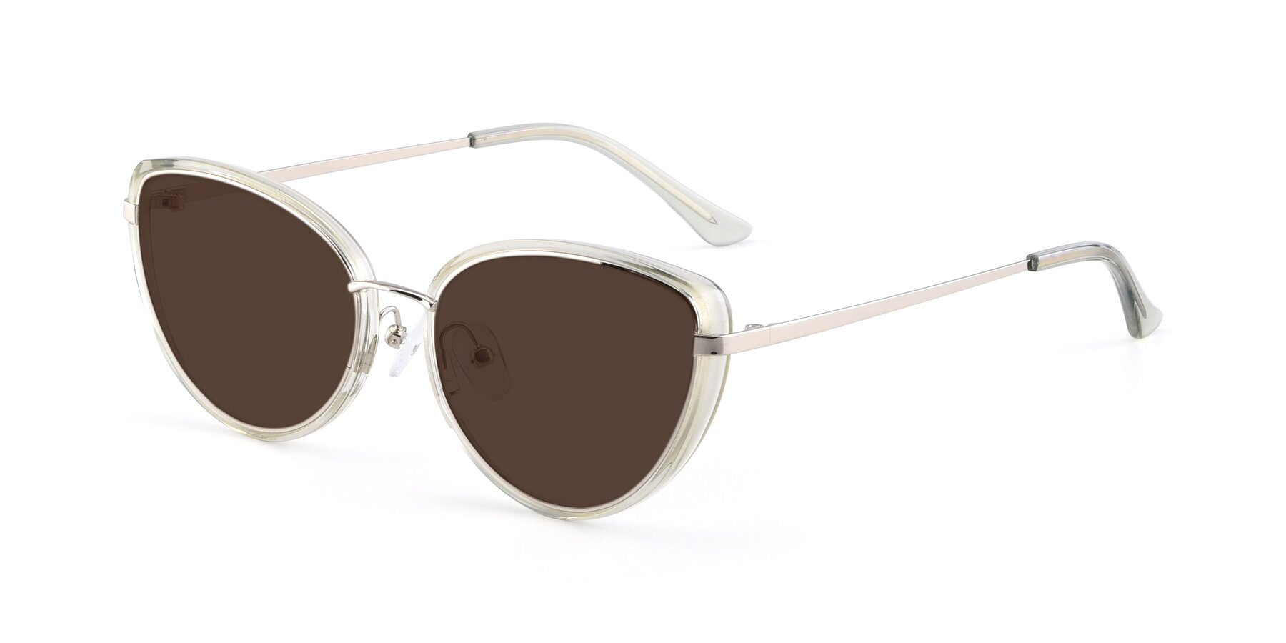 Angle of 17706 in Transparent Green-Silver with Brown Tinted Lenses