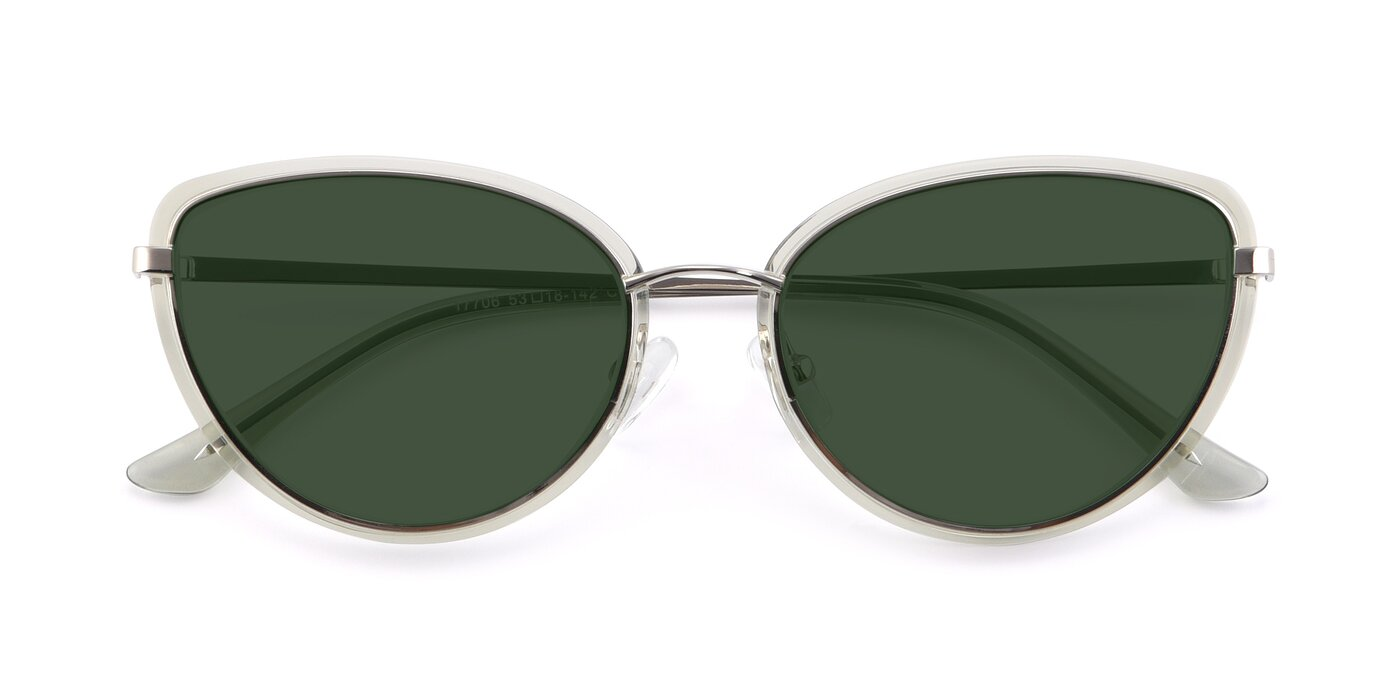 17706 - Transparent Green / Silver Tinted Sunglasses