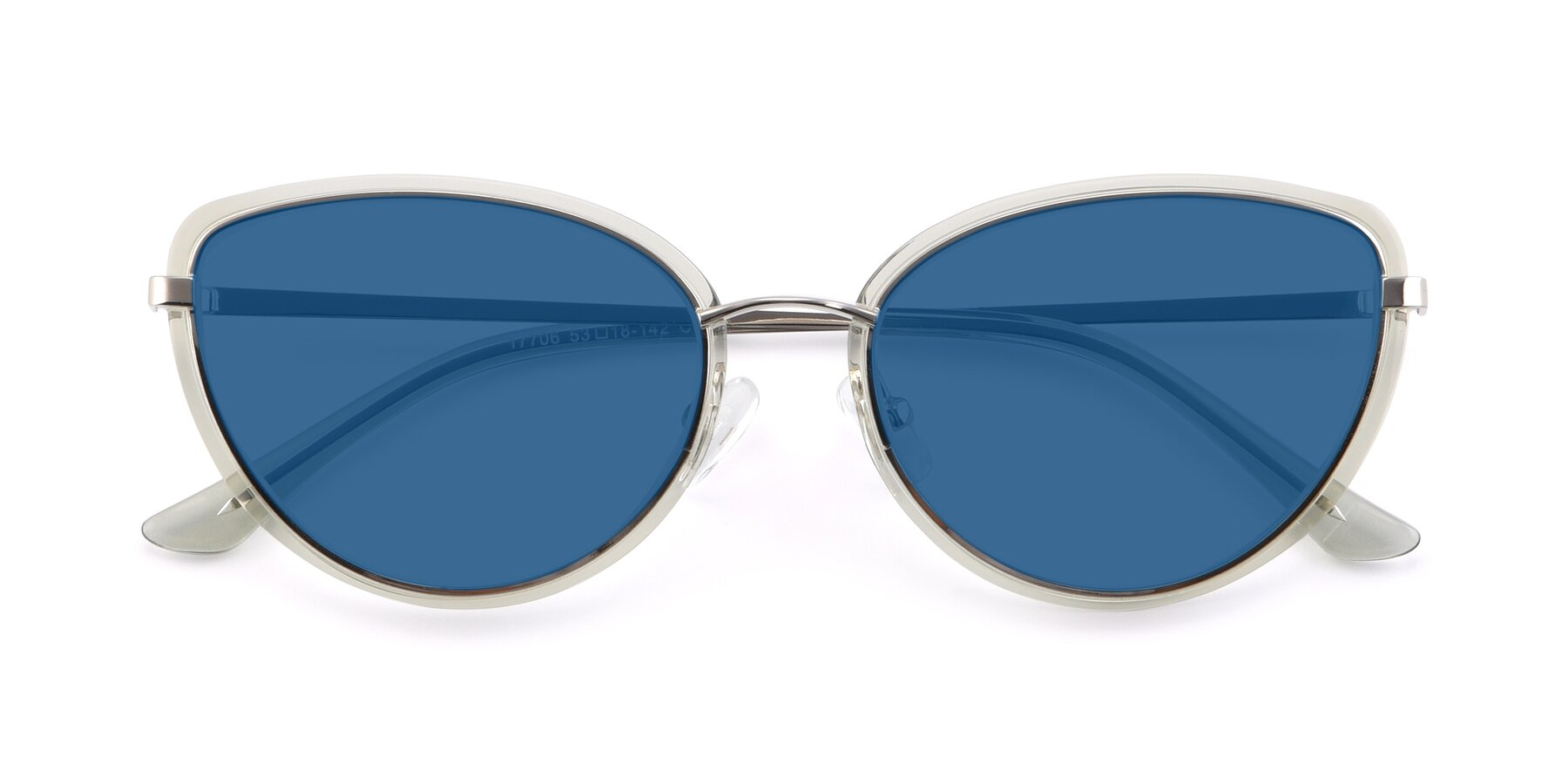 Folded Front of 17706 in Transparent Green-Silver with Blue Tinted Lenses