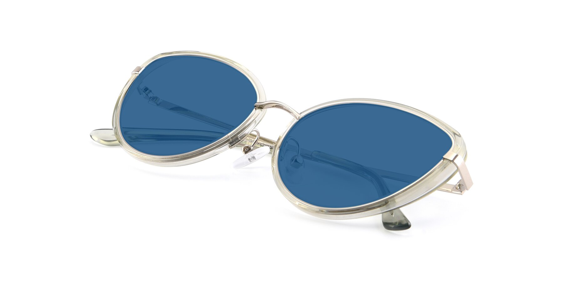 View of 17706 in Transparent Green-Silver with Blue Tinted Lenses