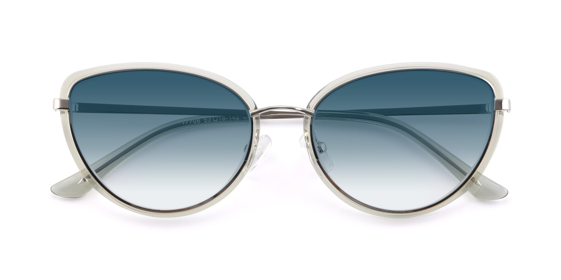 Folded Front of 17706 in Transparent Green-Silver with Blue Gradient Lenses