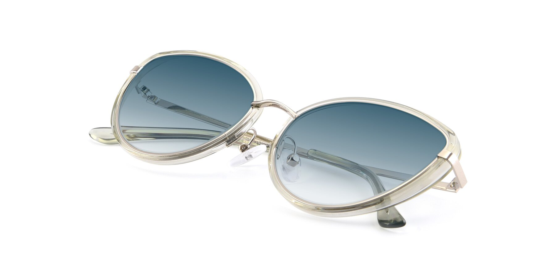 View of 17706 in Transparent Green-Silver with Blue Gradient Lenses