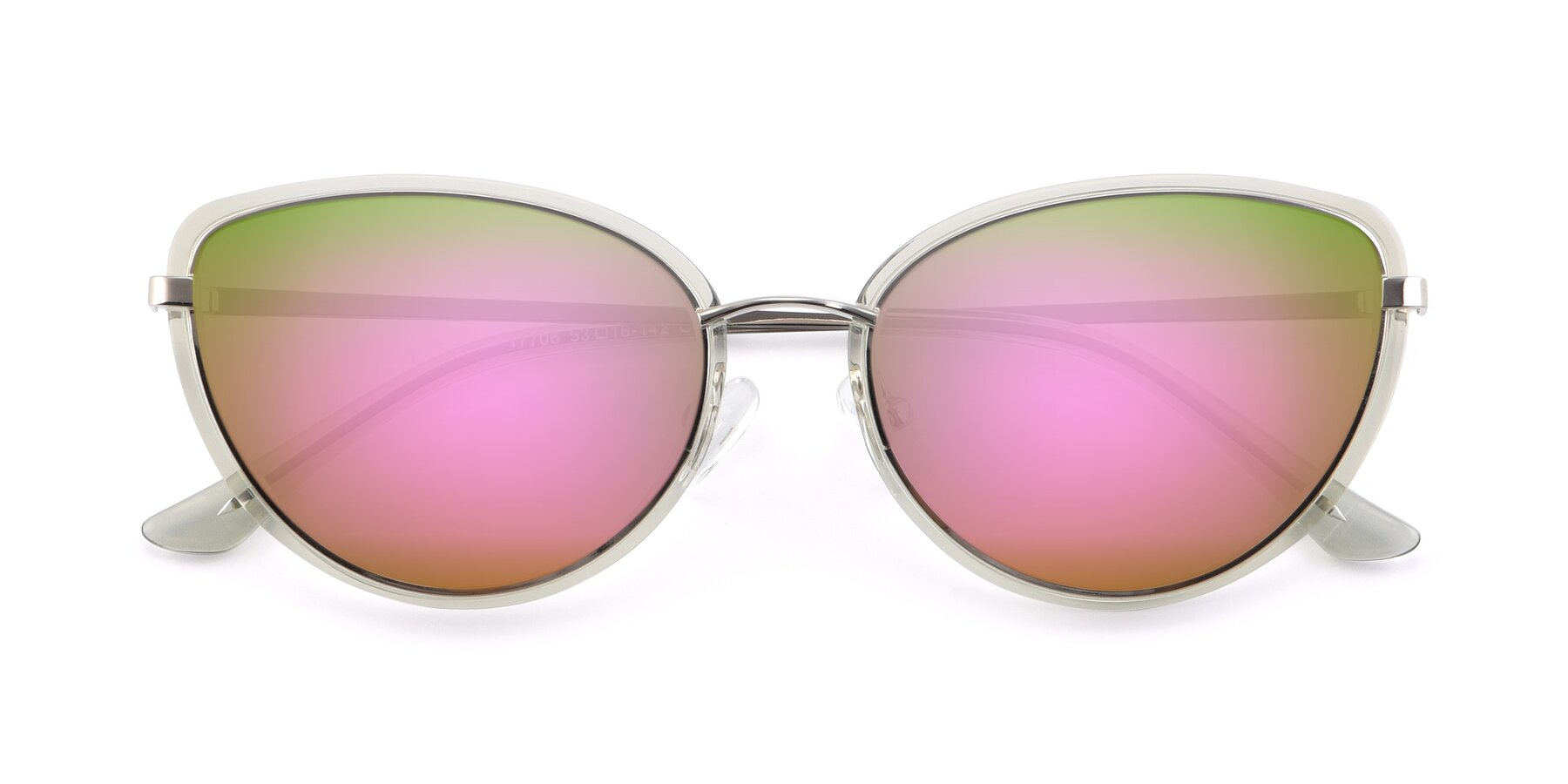 Folded Front of 17706 in Transparent Green-Silver with Pink Mirrored Lenses