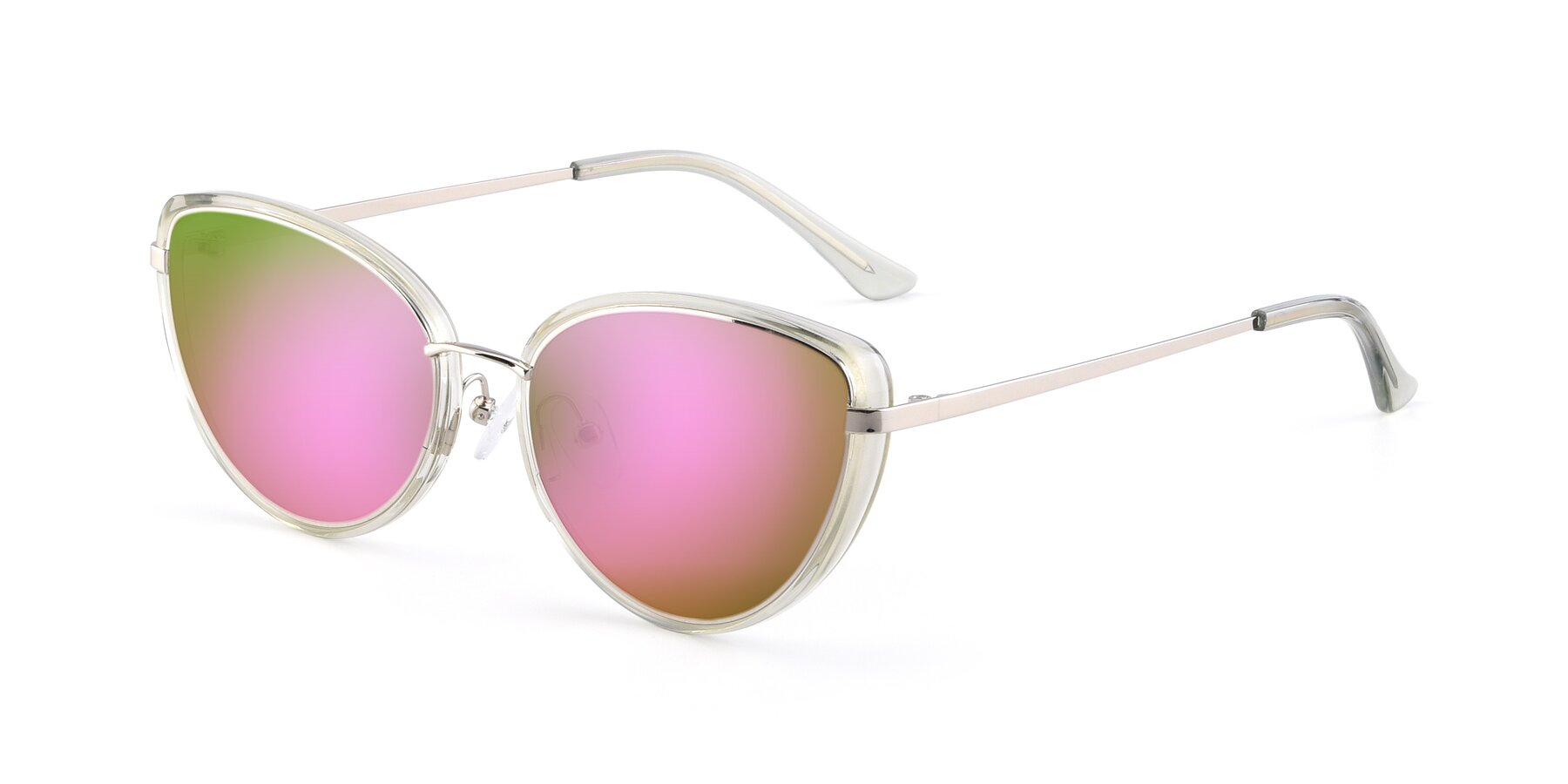 Angle of 17706 in Transparent Green-Silver with Pink Mirrored Lenses
