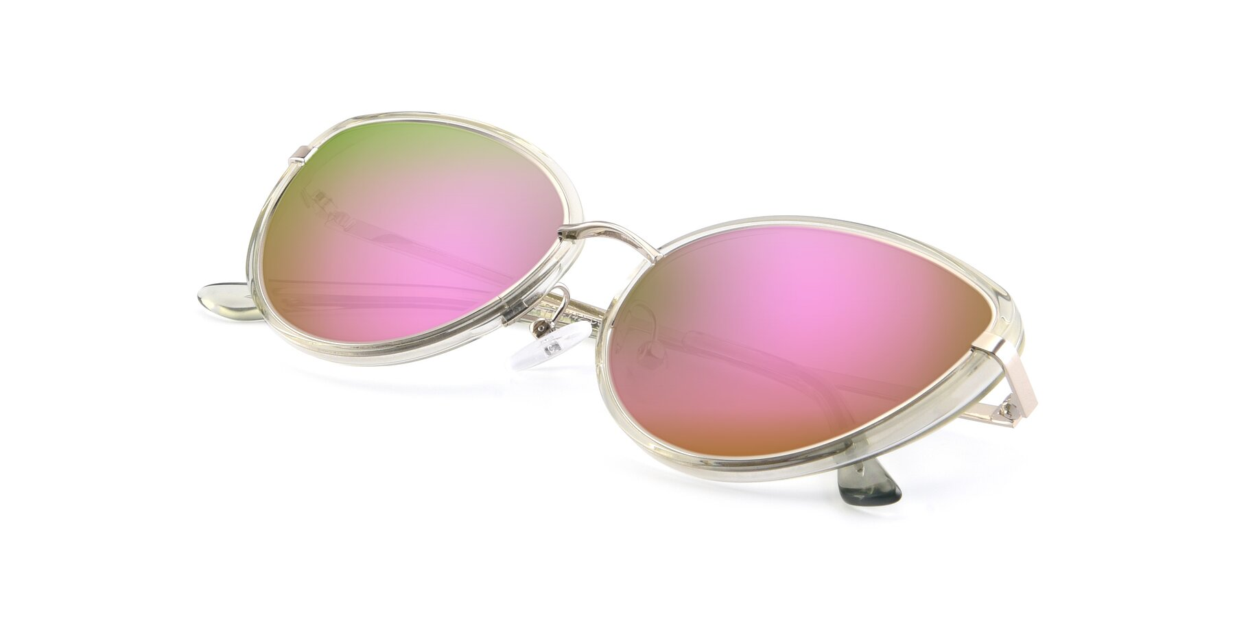 View of 17706 in Transparent Green-Silver with Pink Mirrored Lenses