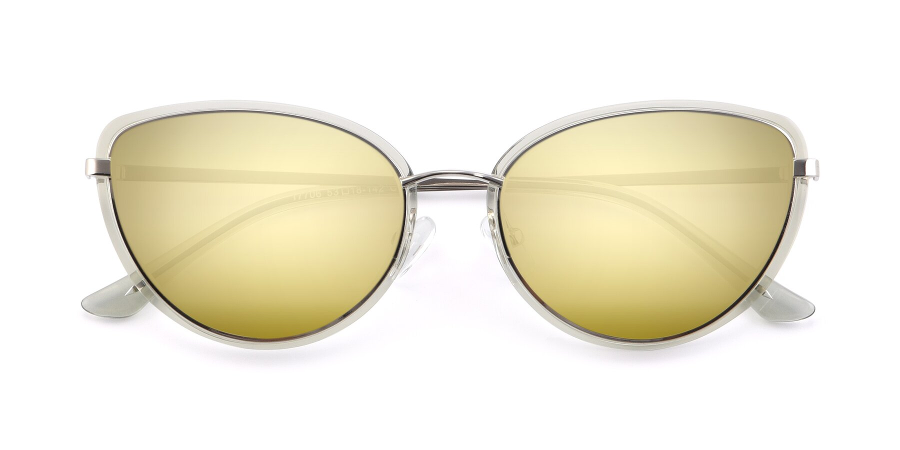 Folded Front of 17706 in Transparent Green-Silver with Gold Mirrored Lenses