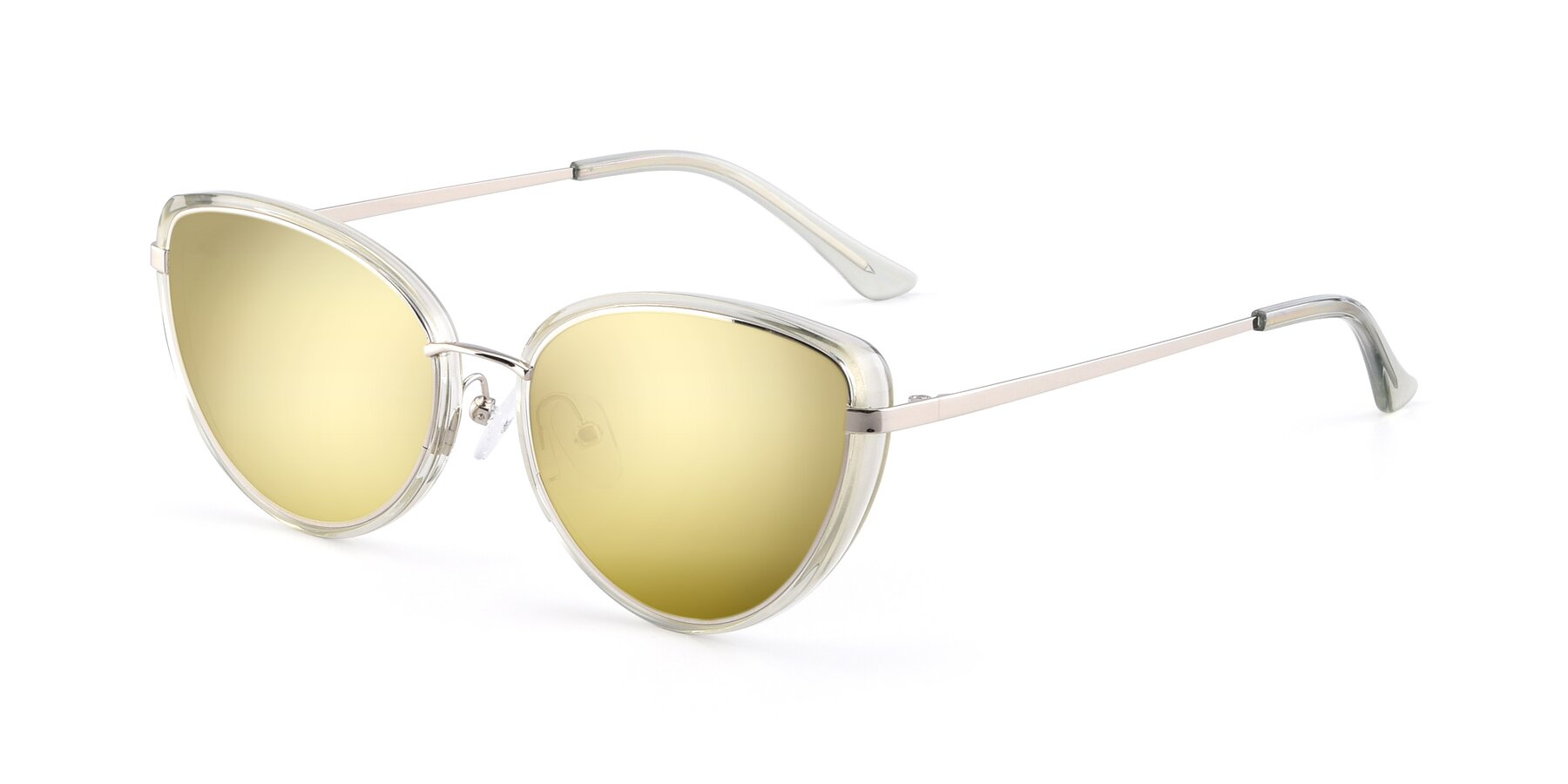 Angle of 17706 in Transparent Green-Silver with Gold Mirrored Lenses