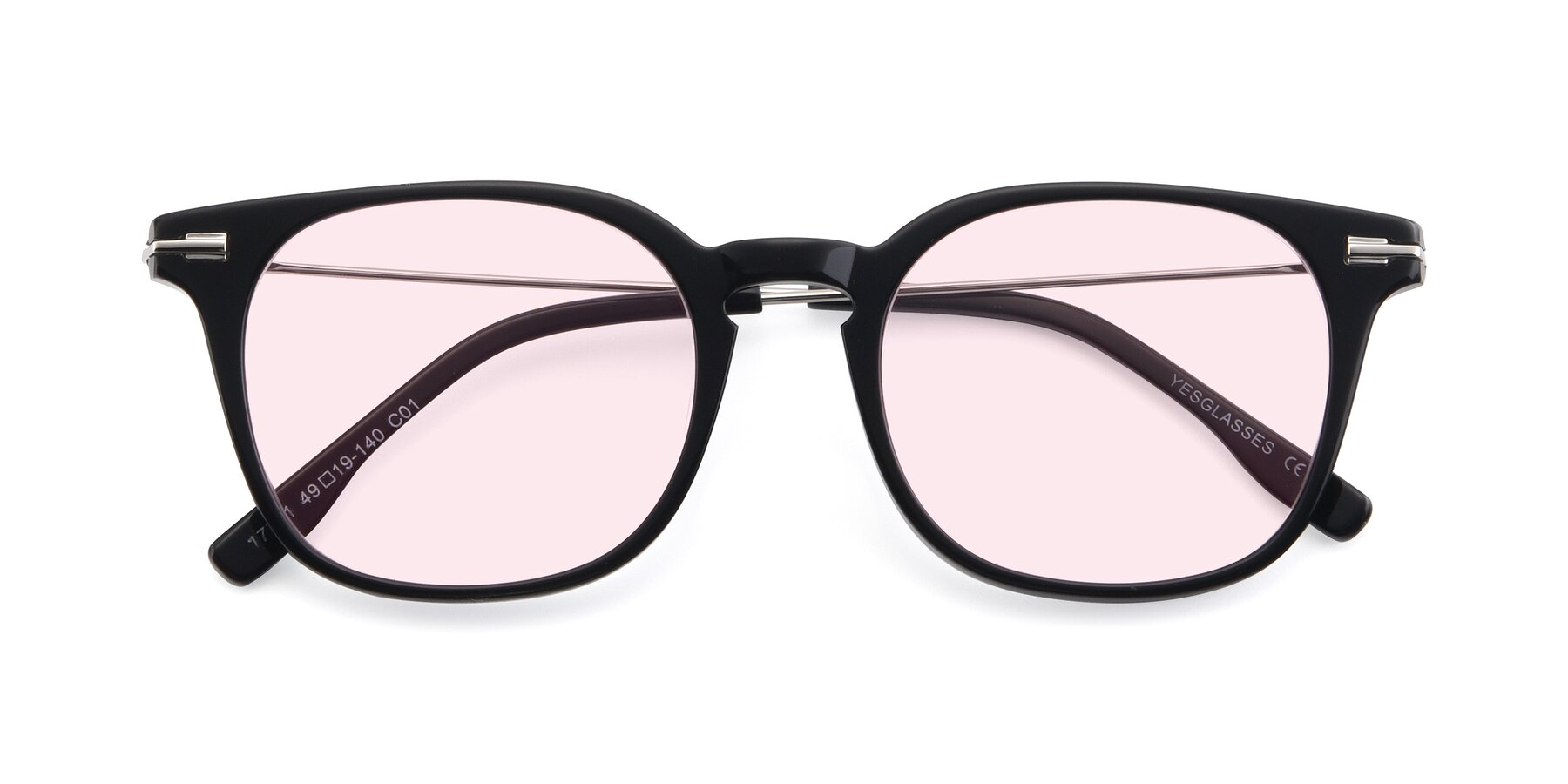 Folded Front of 17711 in Black with Light Pink Tinted Lenses