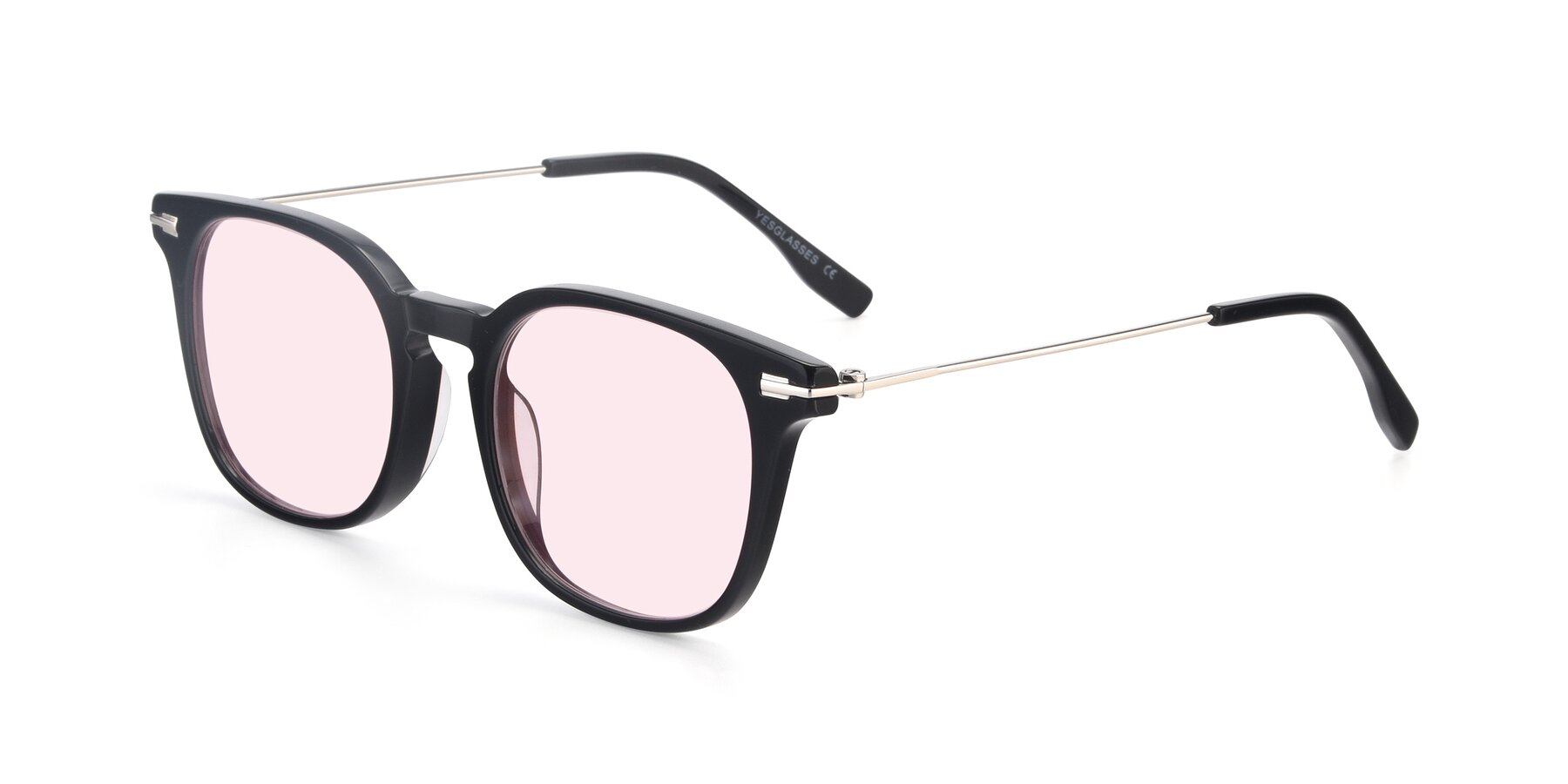 Angle of 17711 in Black with Light Pink Tinted Lenses