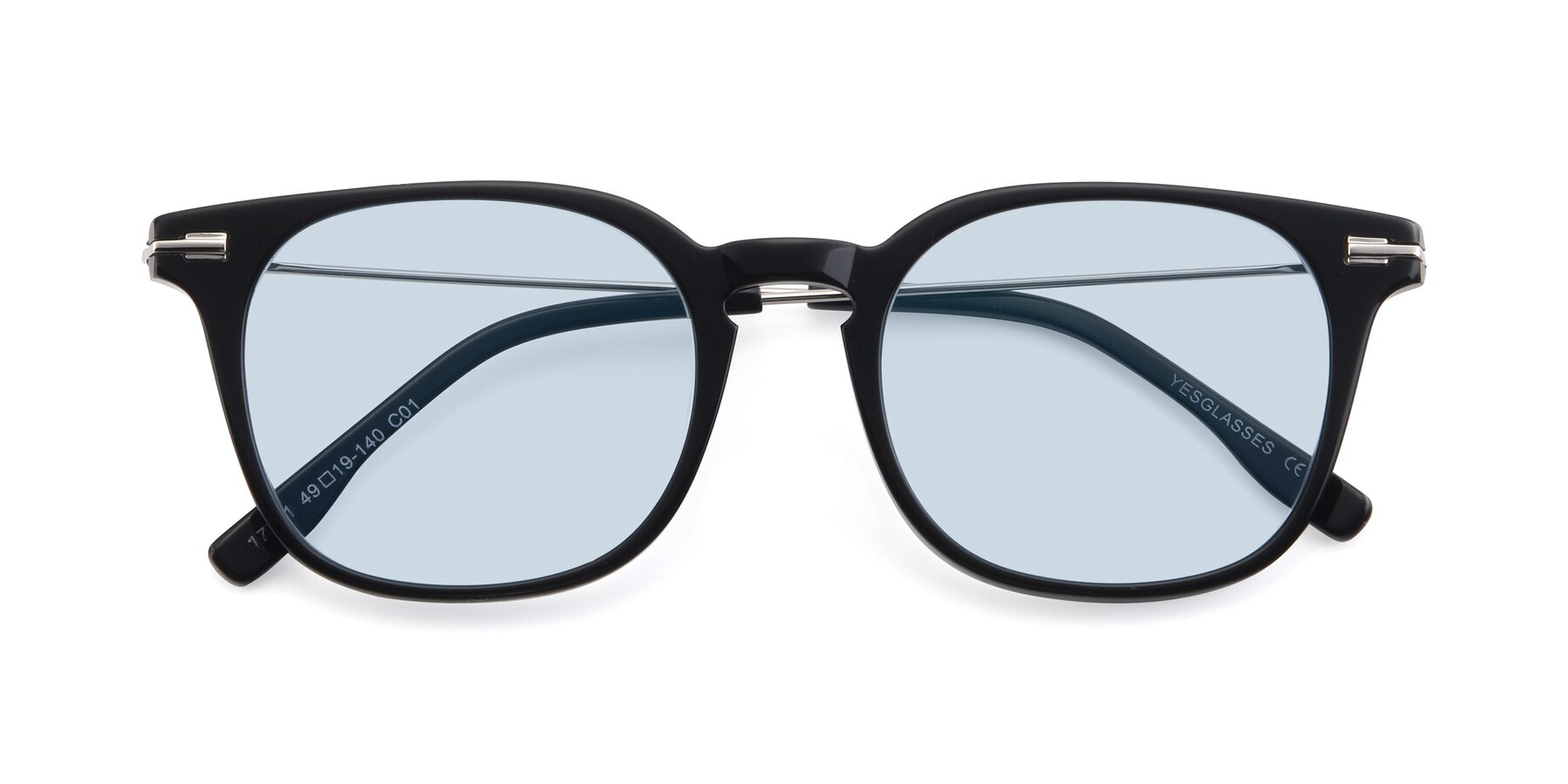 Folded Front of 17711 in Black with Light Blue Tinted Lenses
