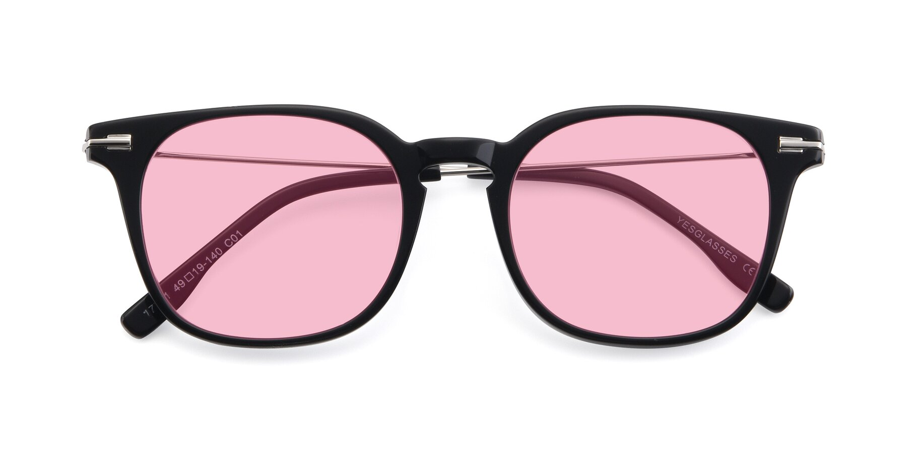 Folded Front of 17711 in Black with Medium Pink Tinted Lenses