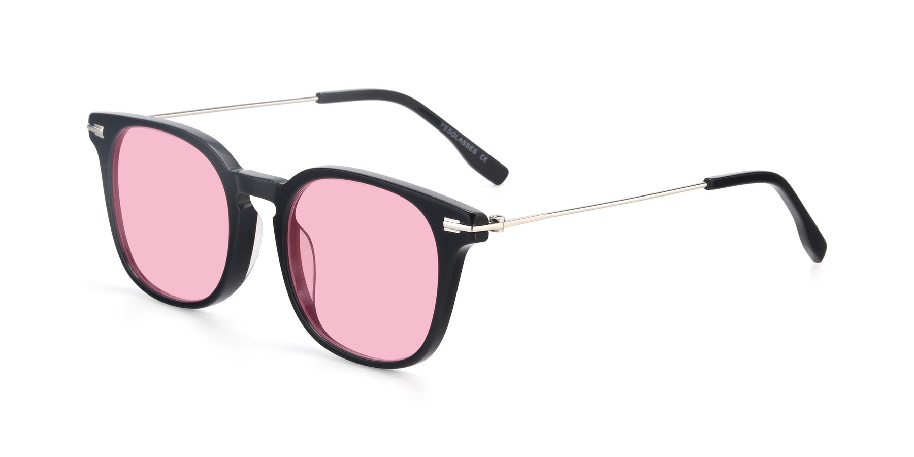 Angle of 17711 in Black with Medium Pink Tinted Lenses