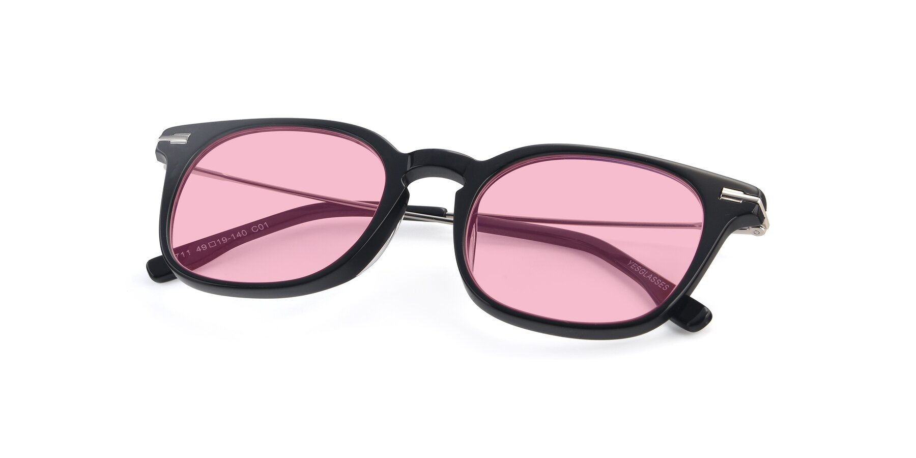 View of 17711 in Black with Medium Pink Tinted Lenses