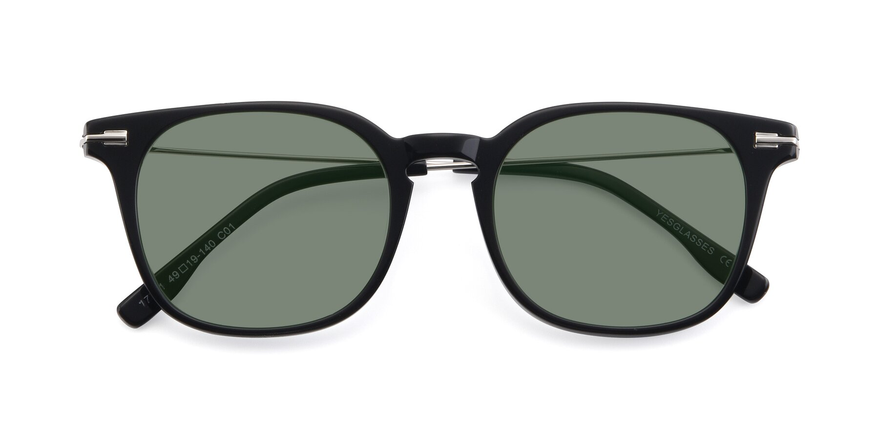 Folded Front of 17711 in Black with Medium Green Tinted Lenses
