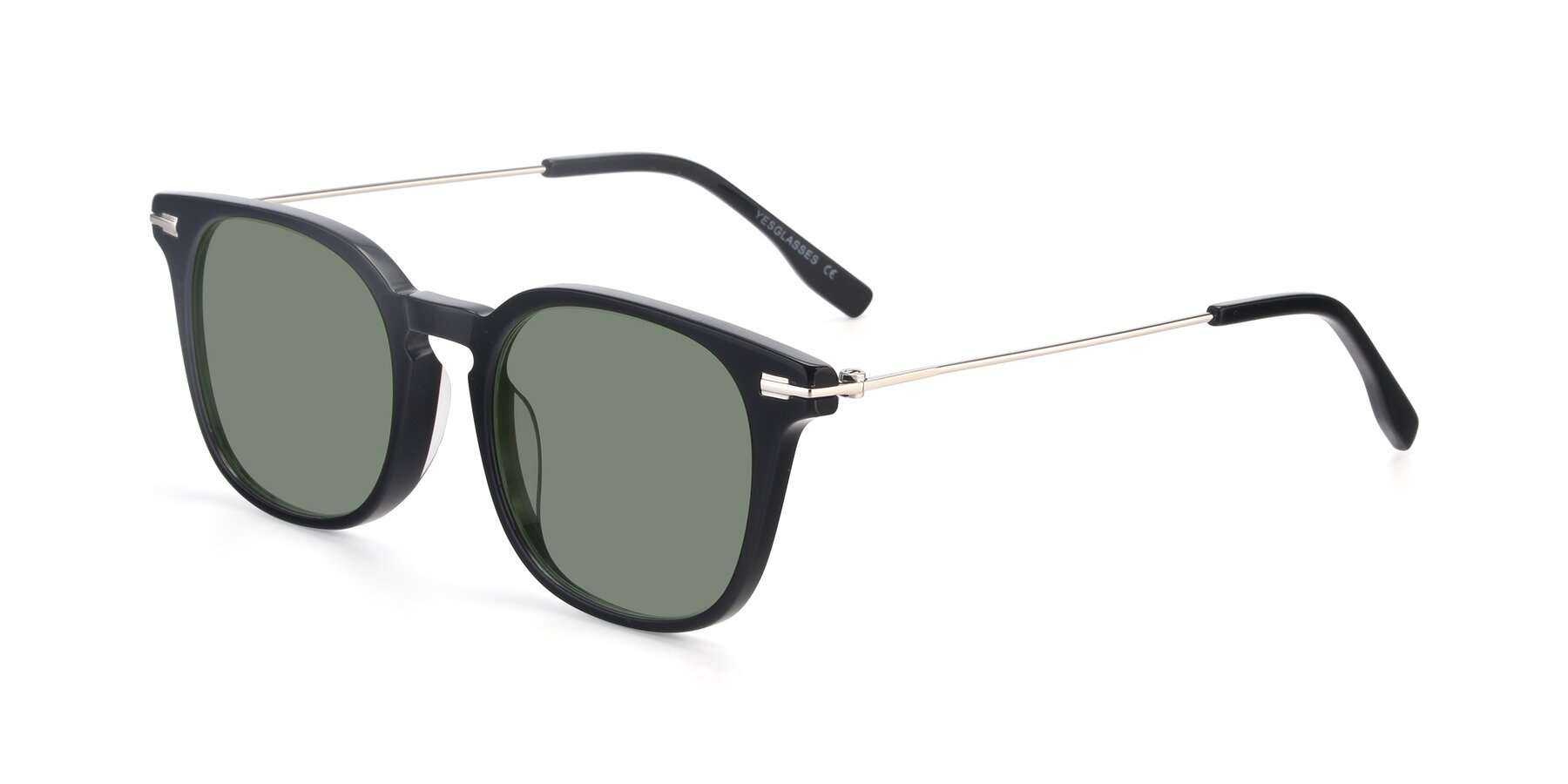 Angle of 17711 in Black with Medium Green Tinted Lenses