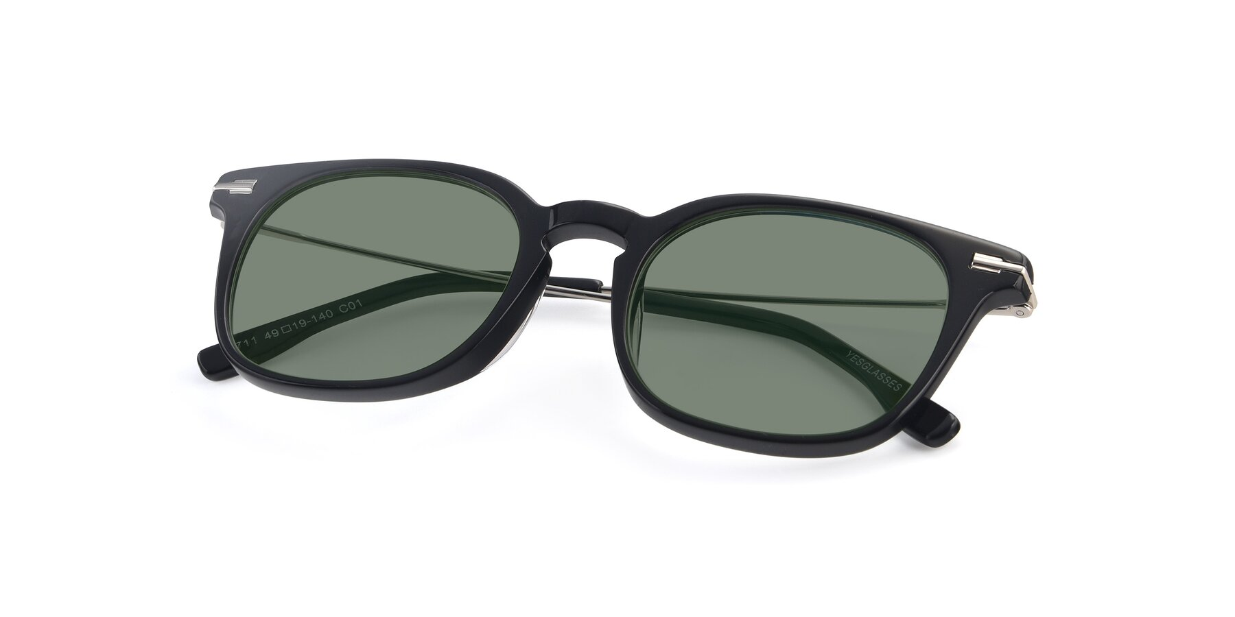 View of 17711 in Black with Medium Green Tinted Lenses