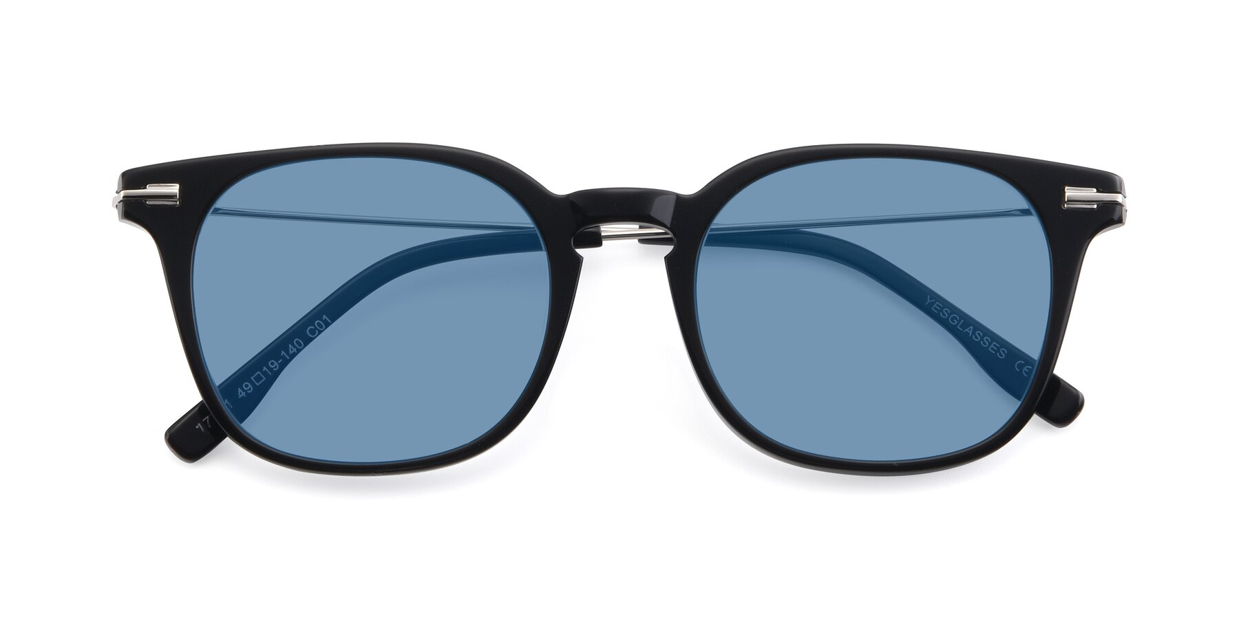 Folded Front of 17711 in Black with Medium Blue Tinted Lenses