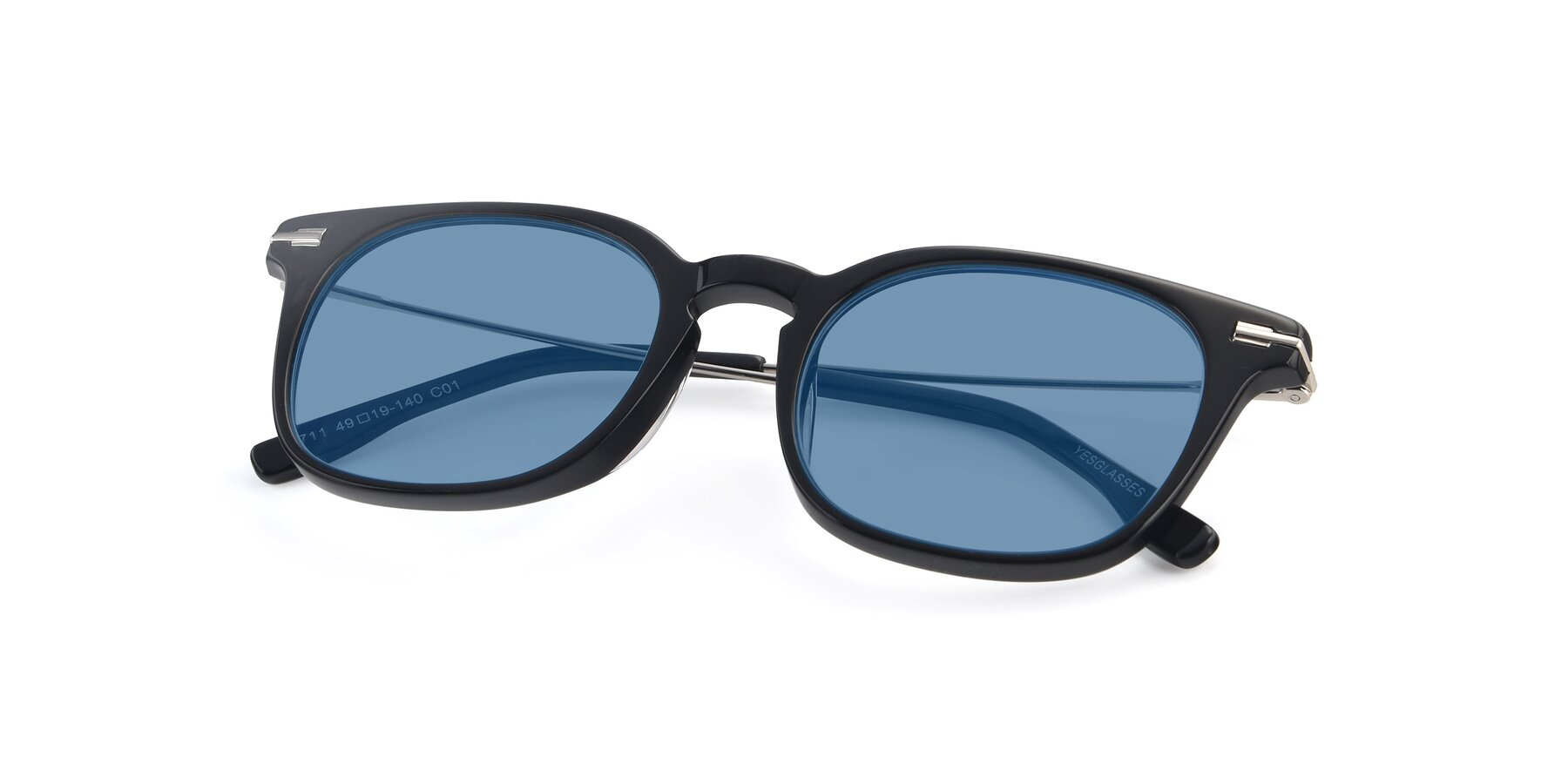 View of 17711 in Black with Medium Blue Tinted Lenses