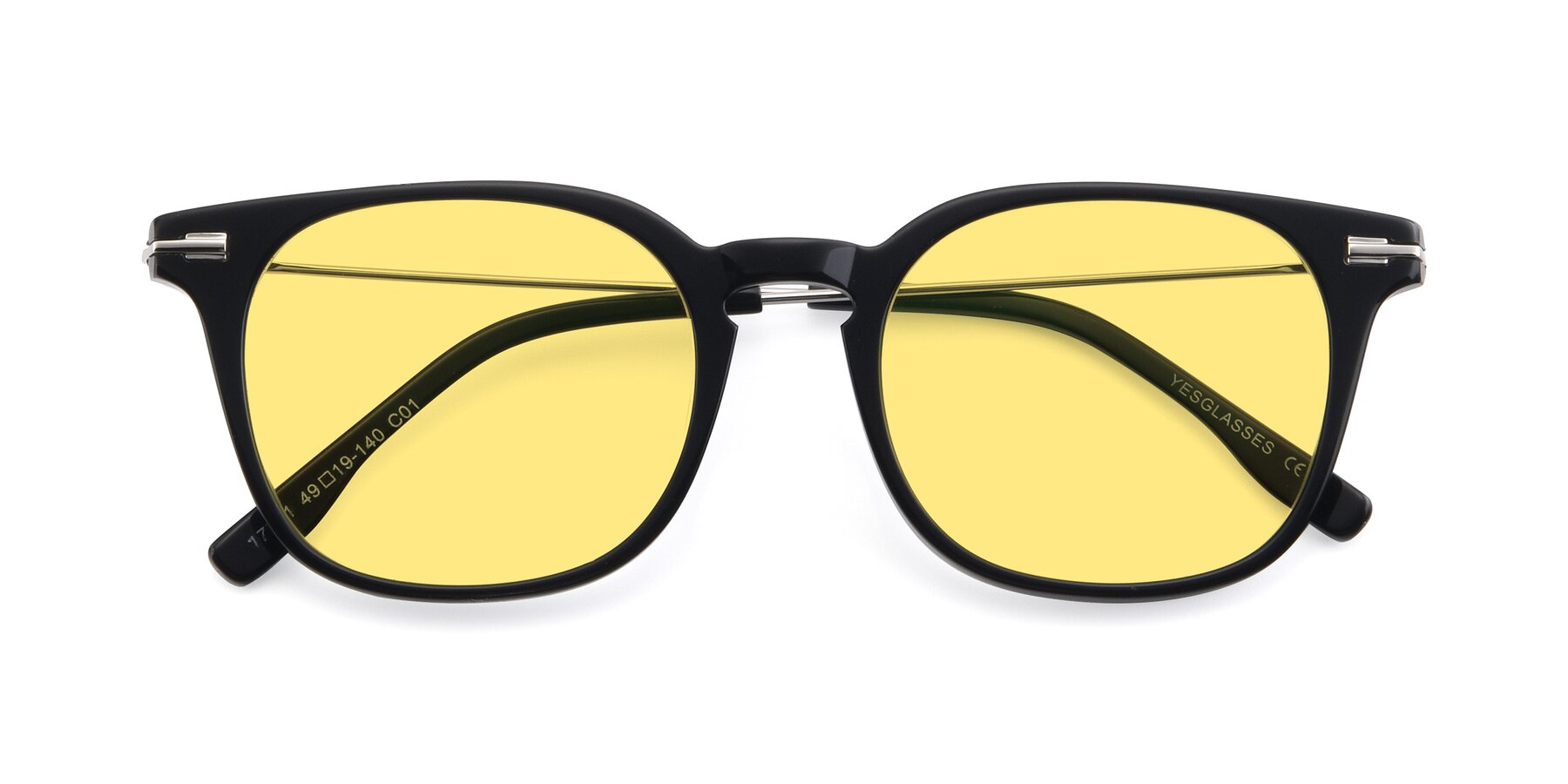 Folded Front of 17711 in Black with Medium Yellow Tinted Lenses