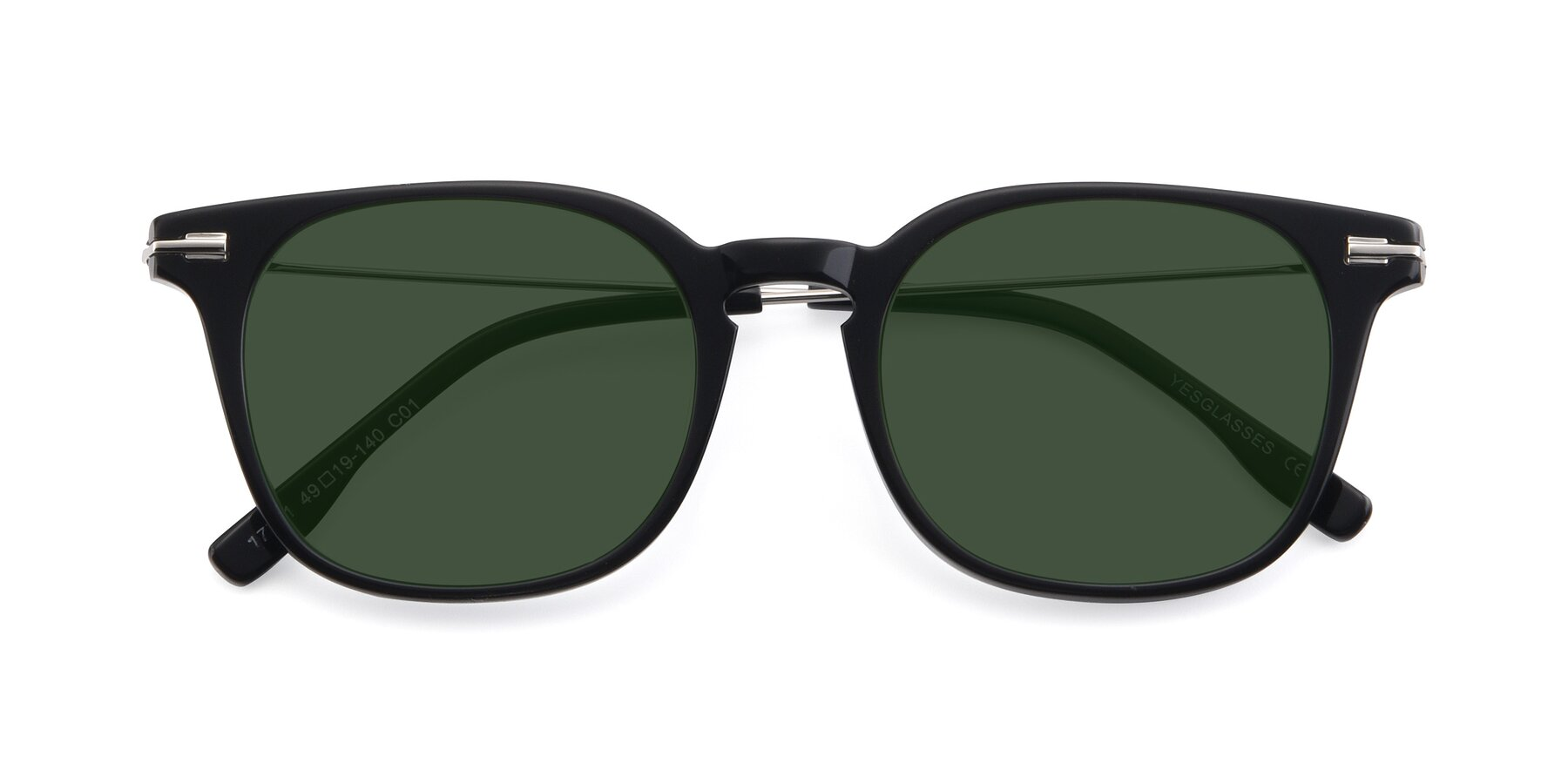 Folded Front of 17711 in Black with Green Tinted Lenses
