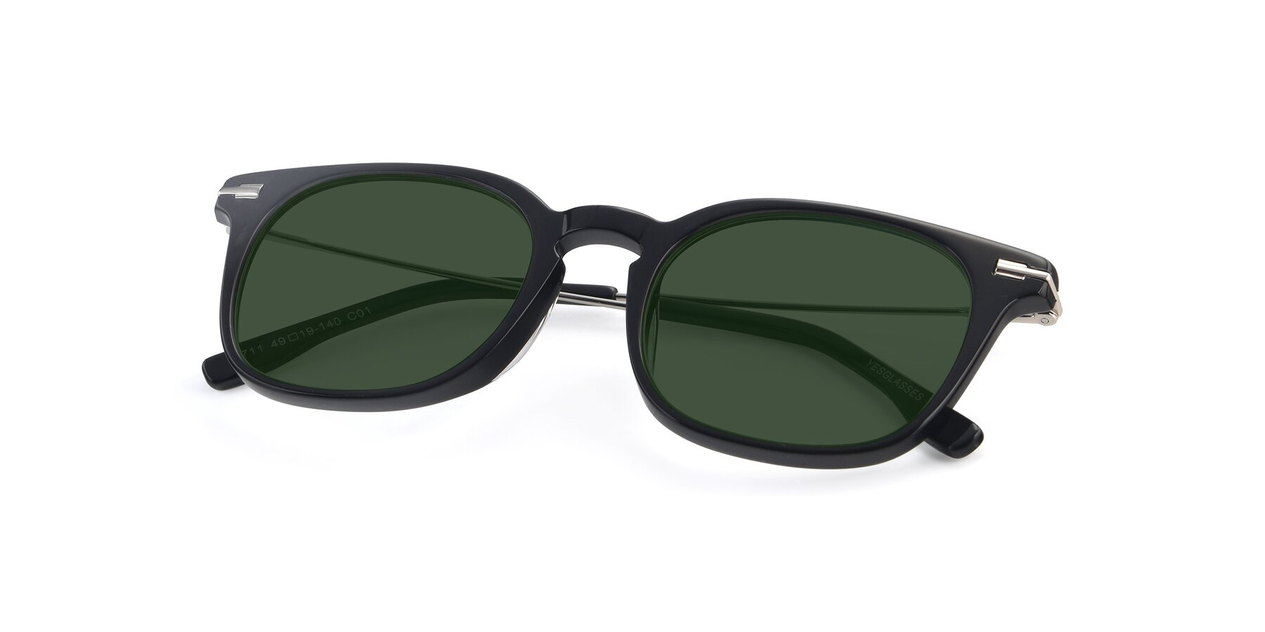View of 17711 in Black with Green Tinted Lenses