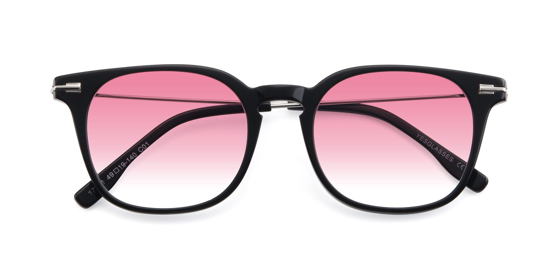 Folded Front of 17711 in Black with Pink Gradient Lenses
