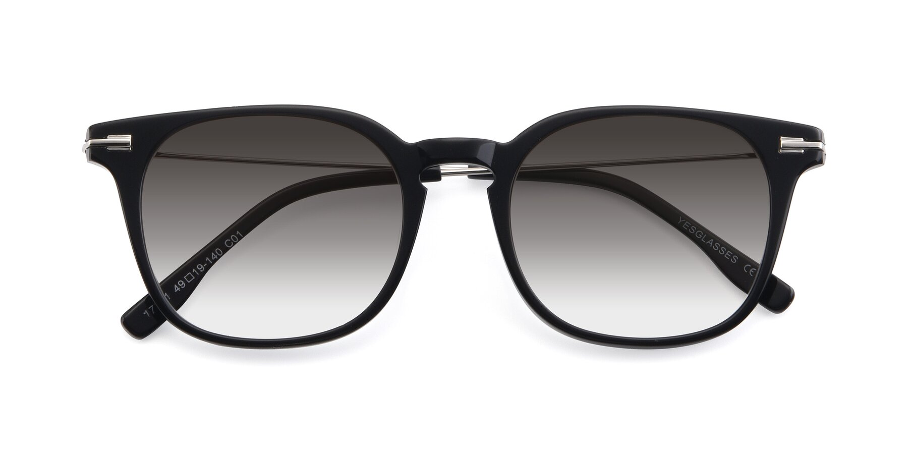 Folded Front of 17711 in Black with Gray Gradient Lenses