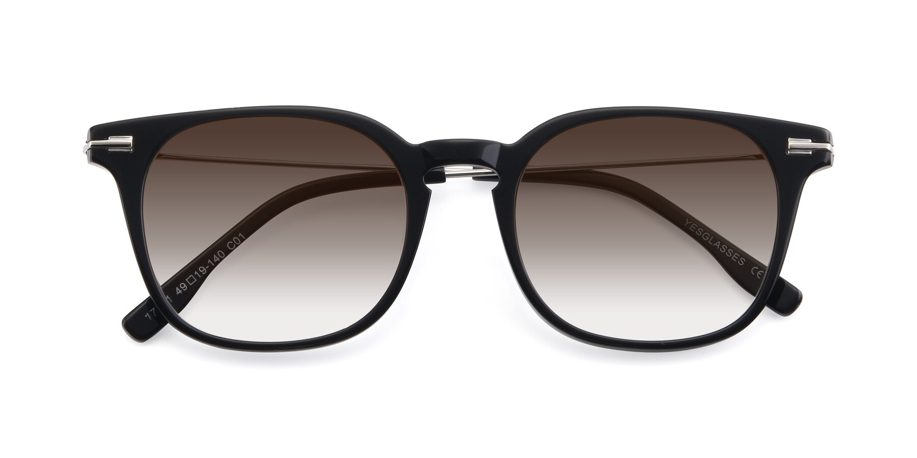 Folded Front of 17711 in Black with Brown Gradient Lenses