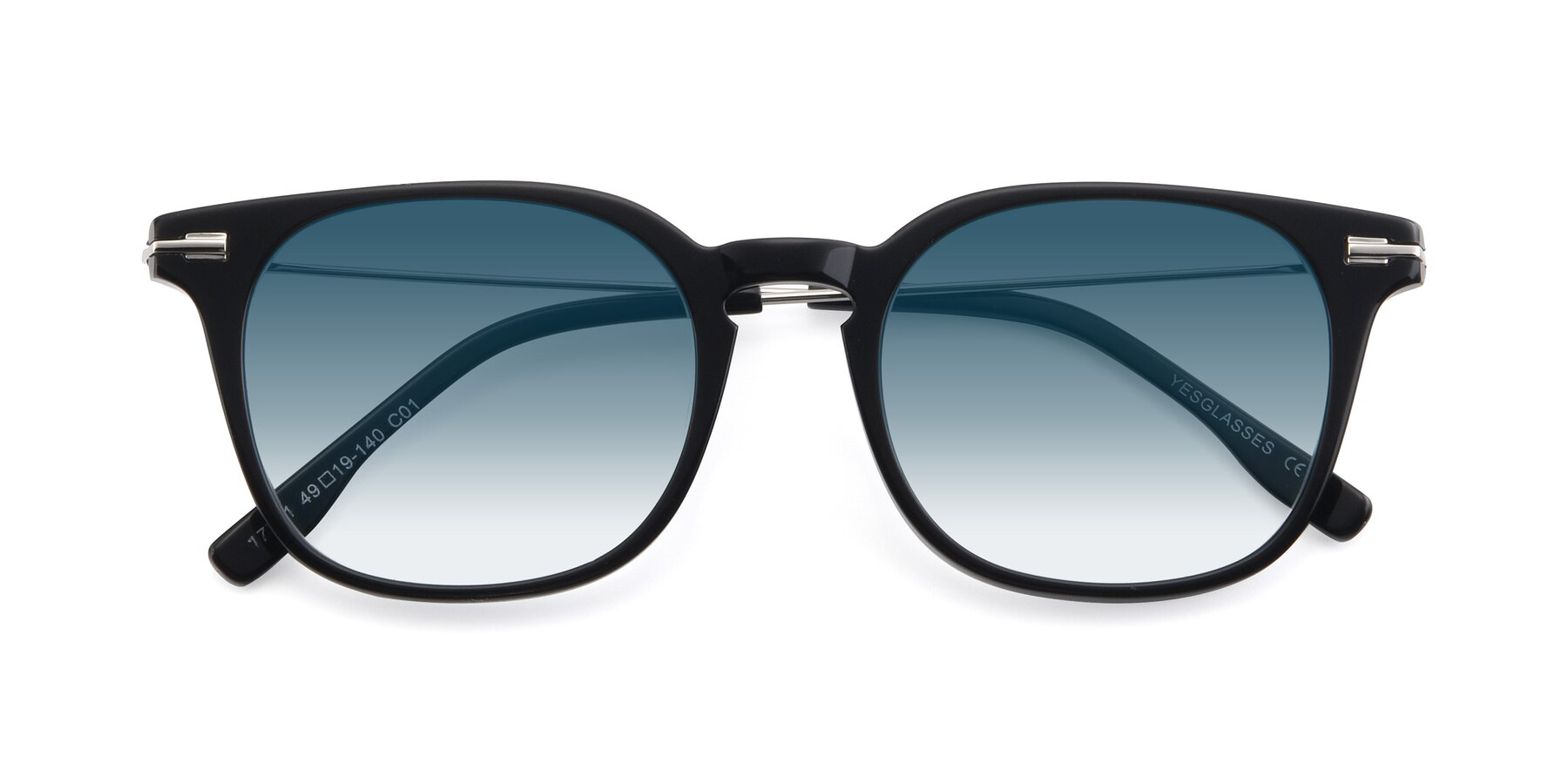 Folded Front of 17711 in Black with Blue Gradient Lenses