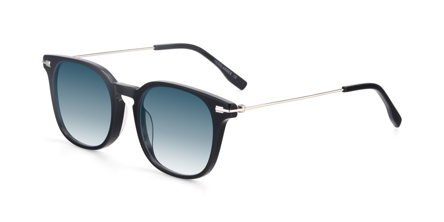 Angle of 17711 in Black with Blue Gradient Lenses