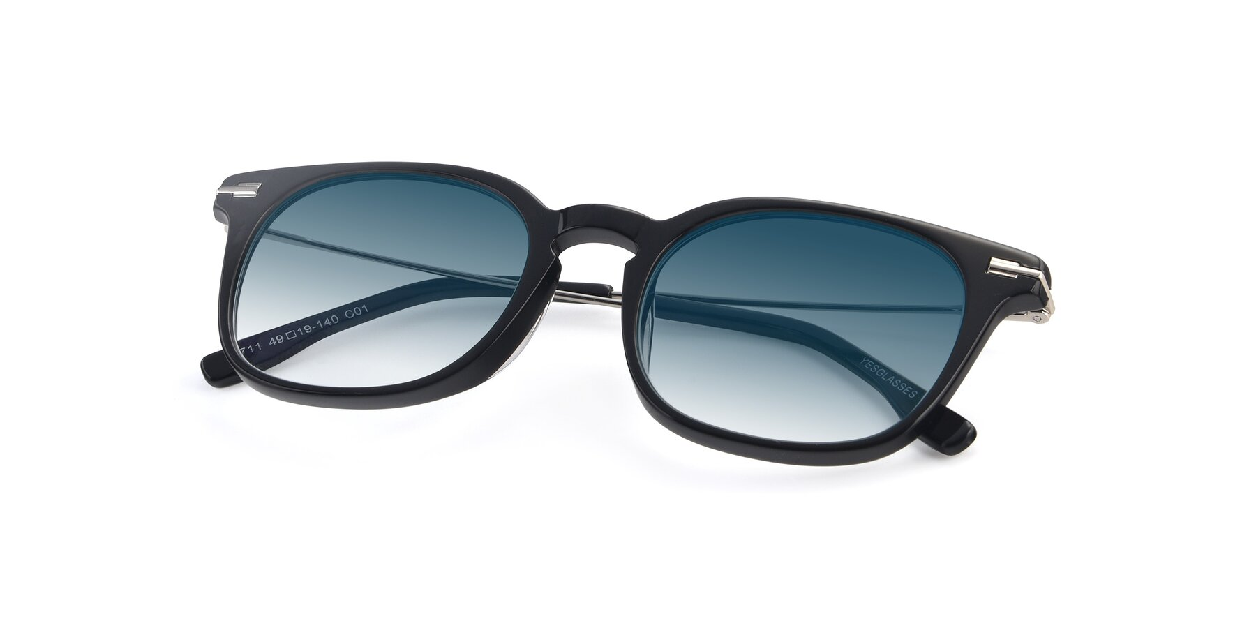 View of 17711 in Black with Blue Gradient Lenses