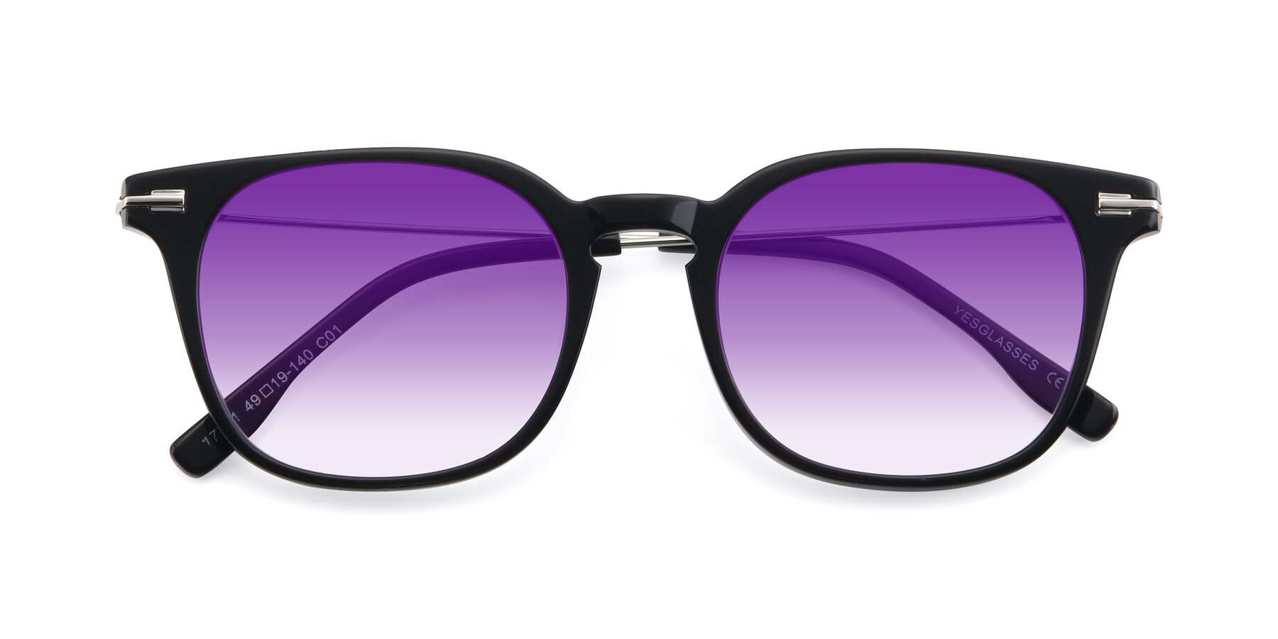 Folded Front of 17711 in Black with Purple Gradient Lenses