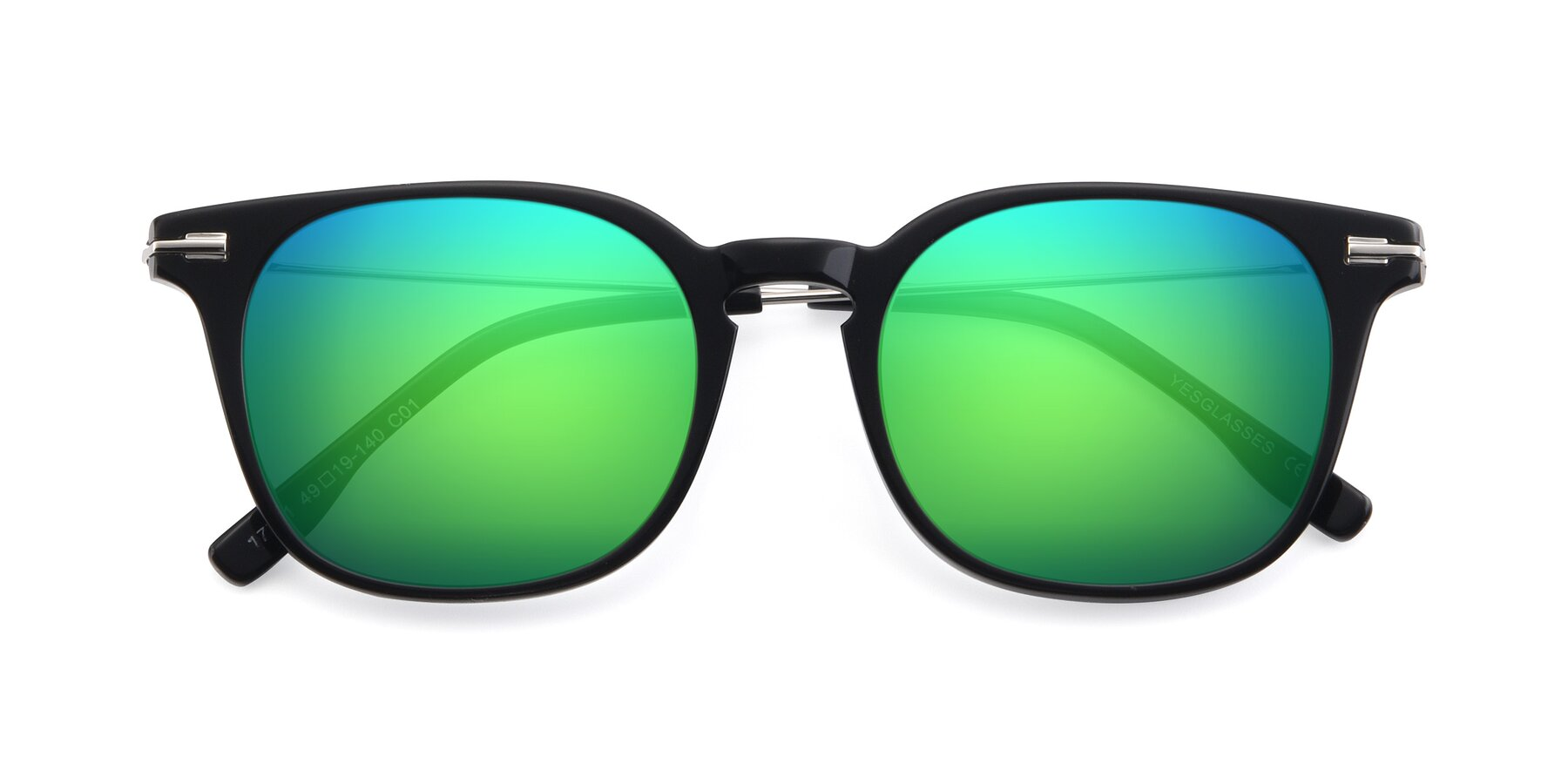 Folded Front of 17711 in Black with Green Mirrored Lenses
