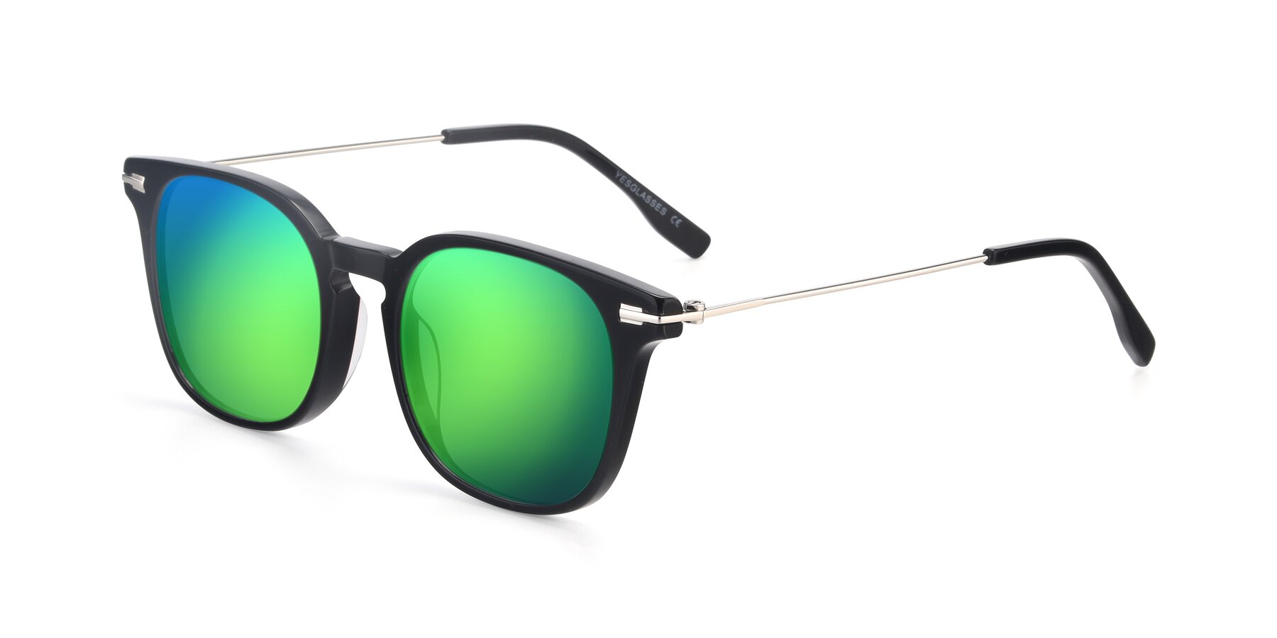 Angle of 17711 in Black with Green Mirrored Lenses