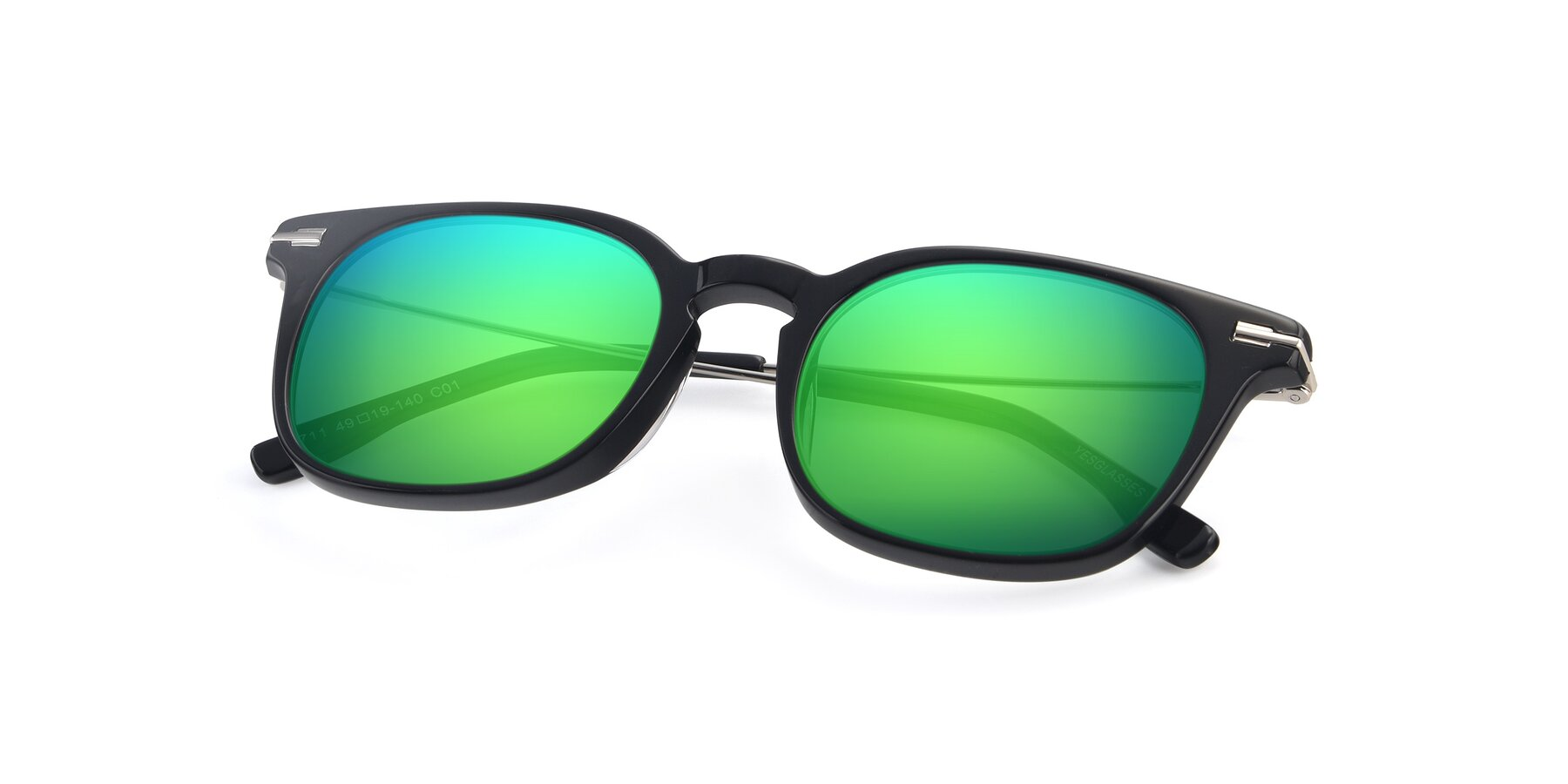 View of 17711 in Black with Green Mirrored Lenses